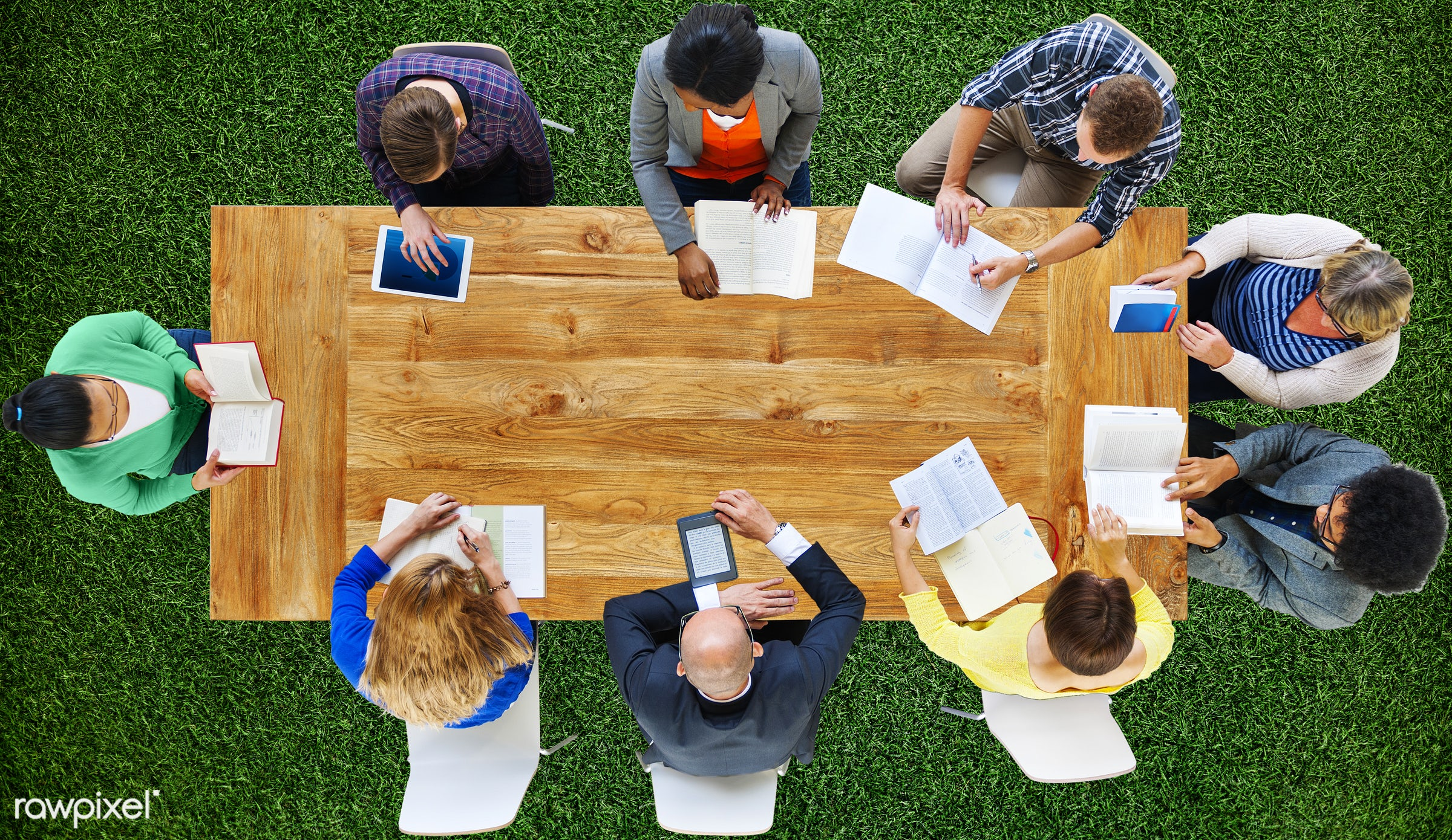 administration, aerial view, african descent, asian ethnicity, board meeting, board room, business, business people,...