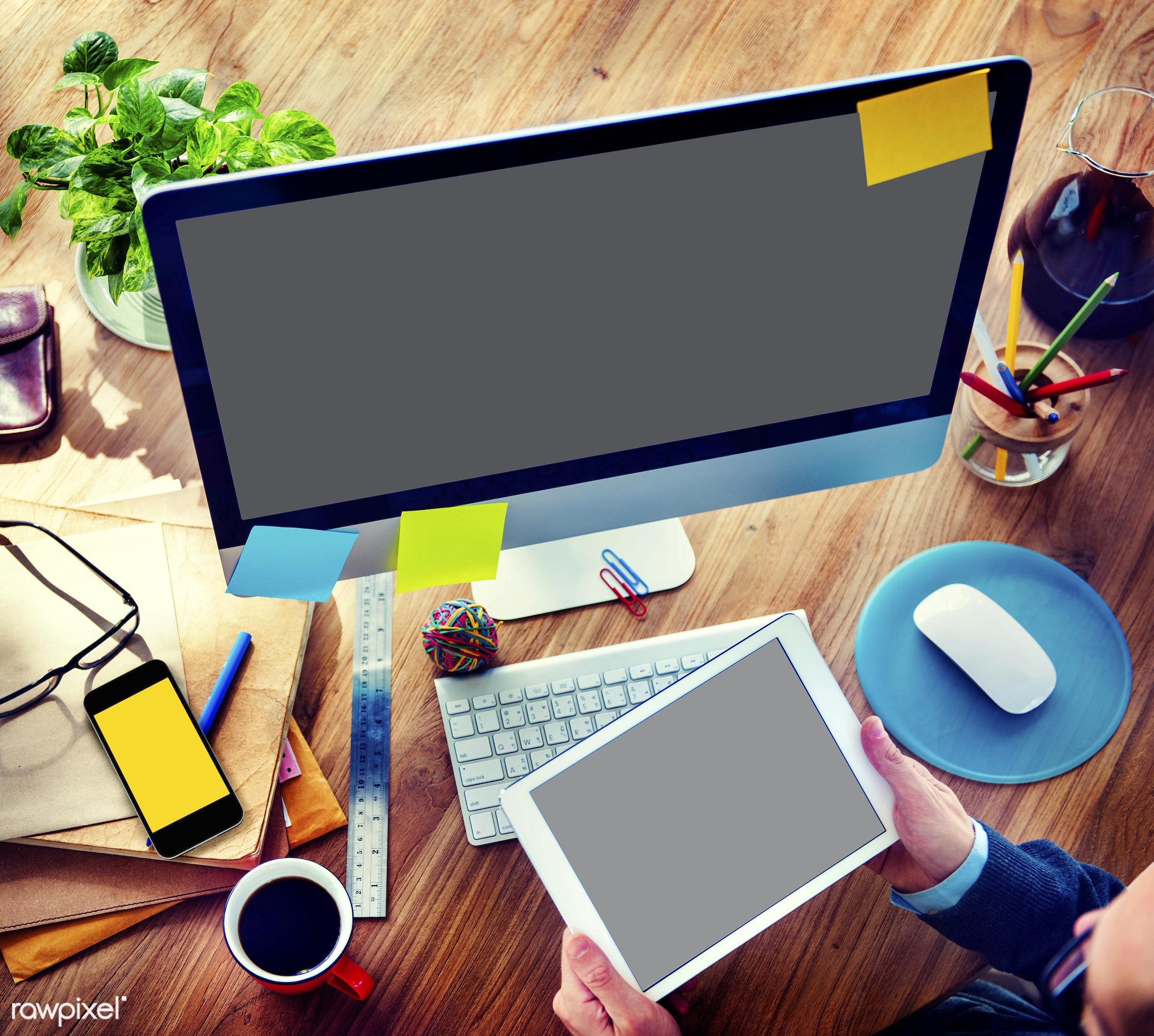 adhesive note, analysis, business, businessman, coffee, computer, concepts, contemporary, creativity, designer, desktop pc,...