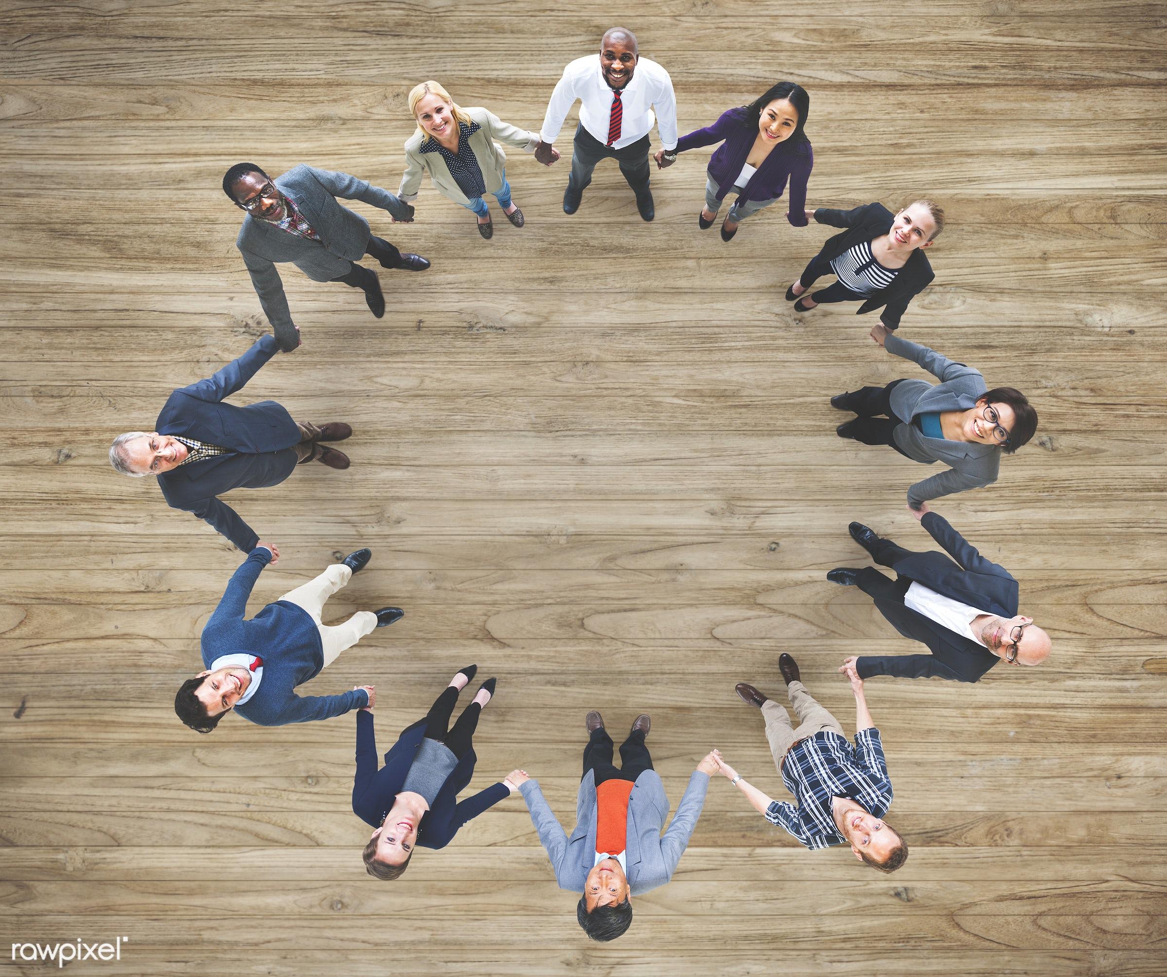 collaboration, diverse, wooden floor, people, teamwork, friends, businesswomen, aerial view, cheerful, smiling, businessmen...
