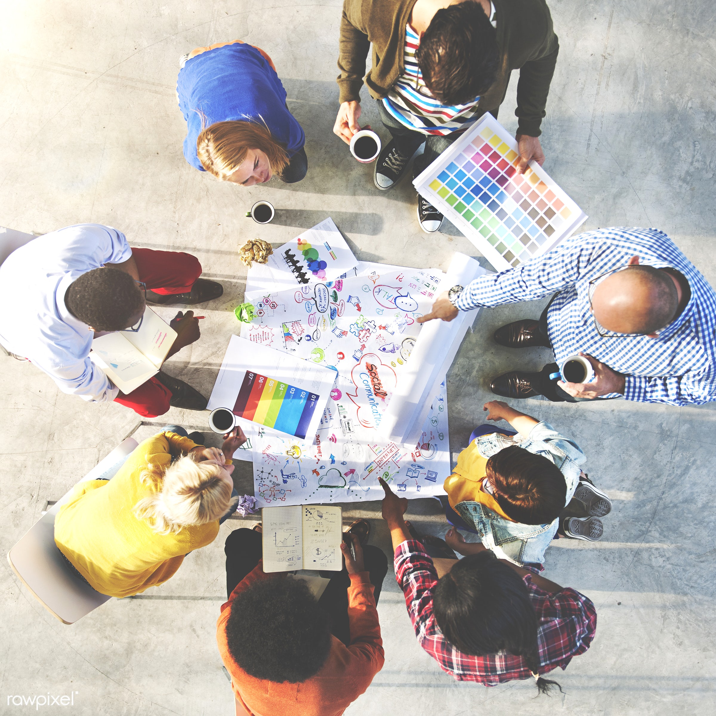 adult, aerial view, african descent, asian ethnicity, brainstorming, cheerful, collaboration, color swatch, communication,...