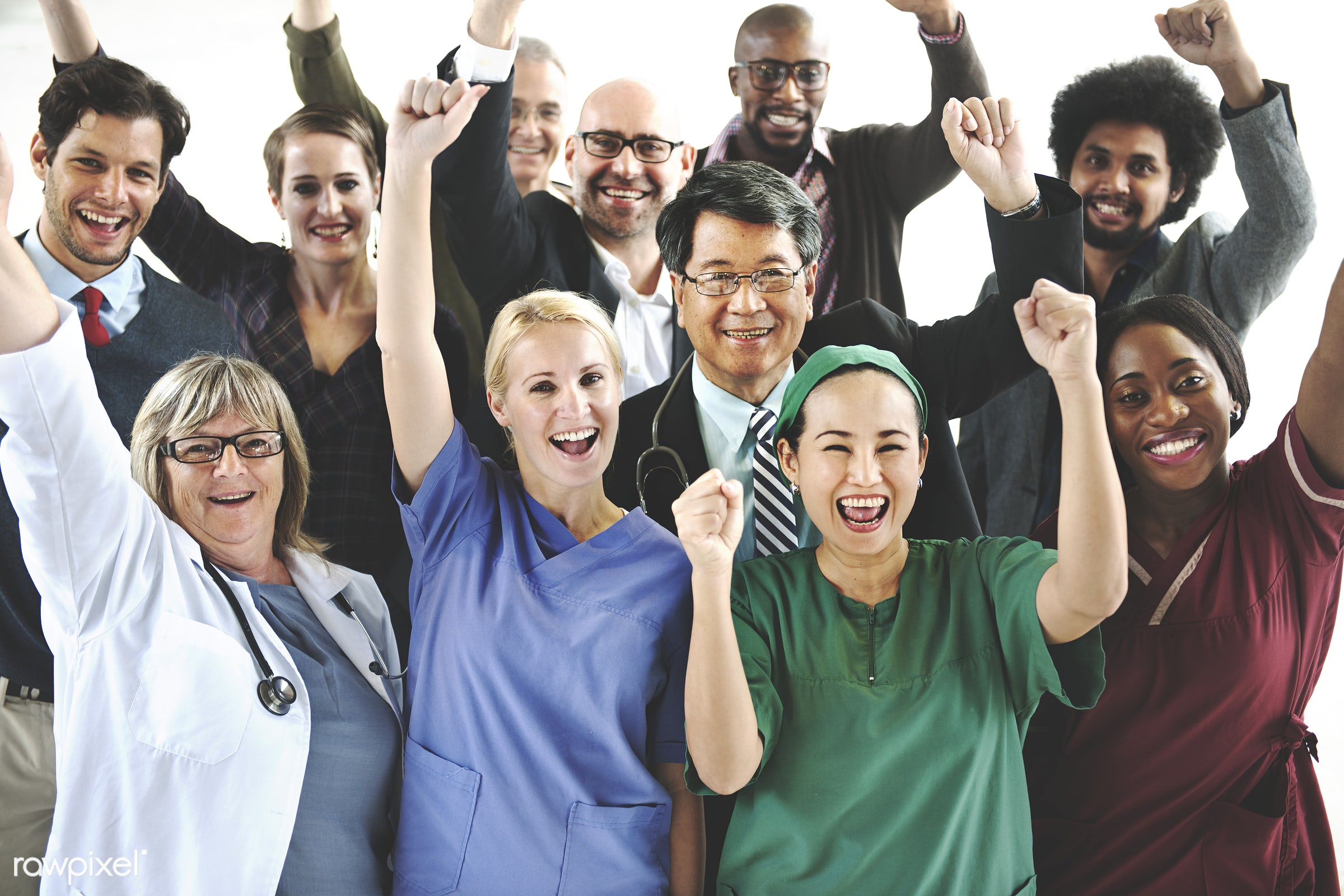Group of diverse occupations people - asian, caucasian, colleagues, diverse, doctor, group, healthcare, medical, nurses,...