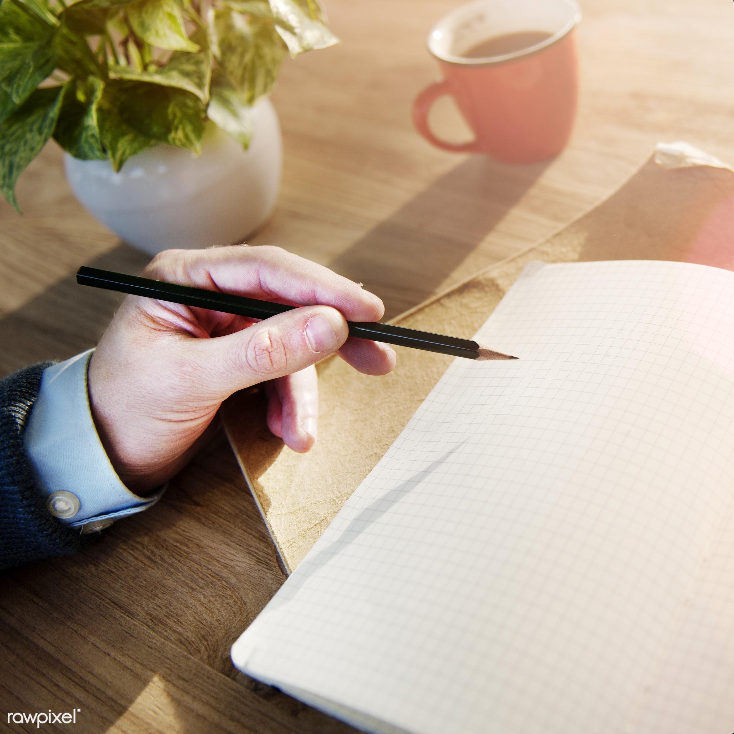 analyzing, blank, business, cafe, classroom, coffee, coffee break, college, copy space, designer, desk, education, hand,...