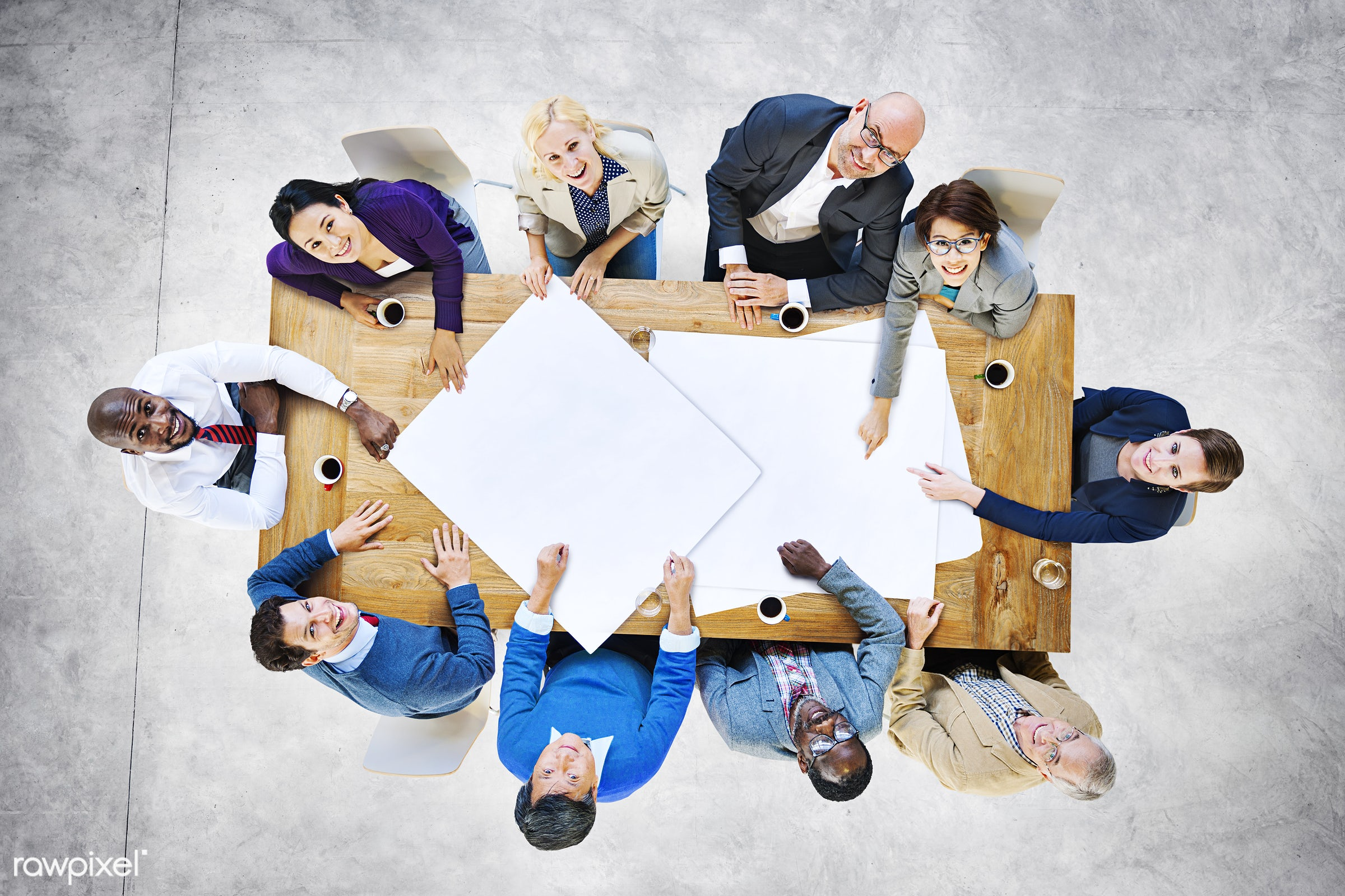 aerial view, african descent, asian ethnicity, blank, brainstorming, casual, collaboration, communication, community,...