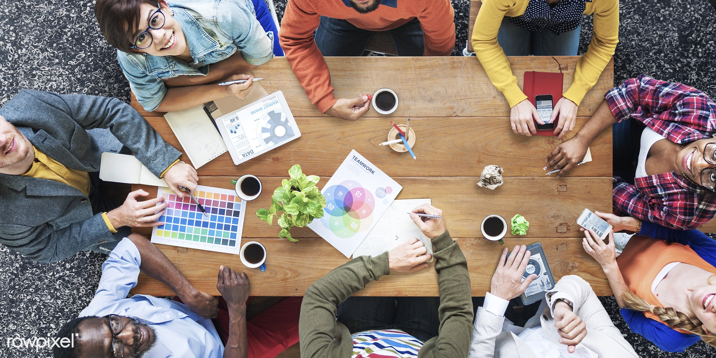 aerial view, african descent, asian ethnicity, brainstorming, business, cafe, coffee, coffee shop, color swatch, colorful,...