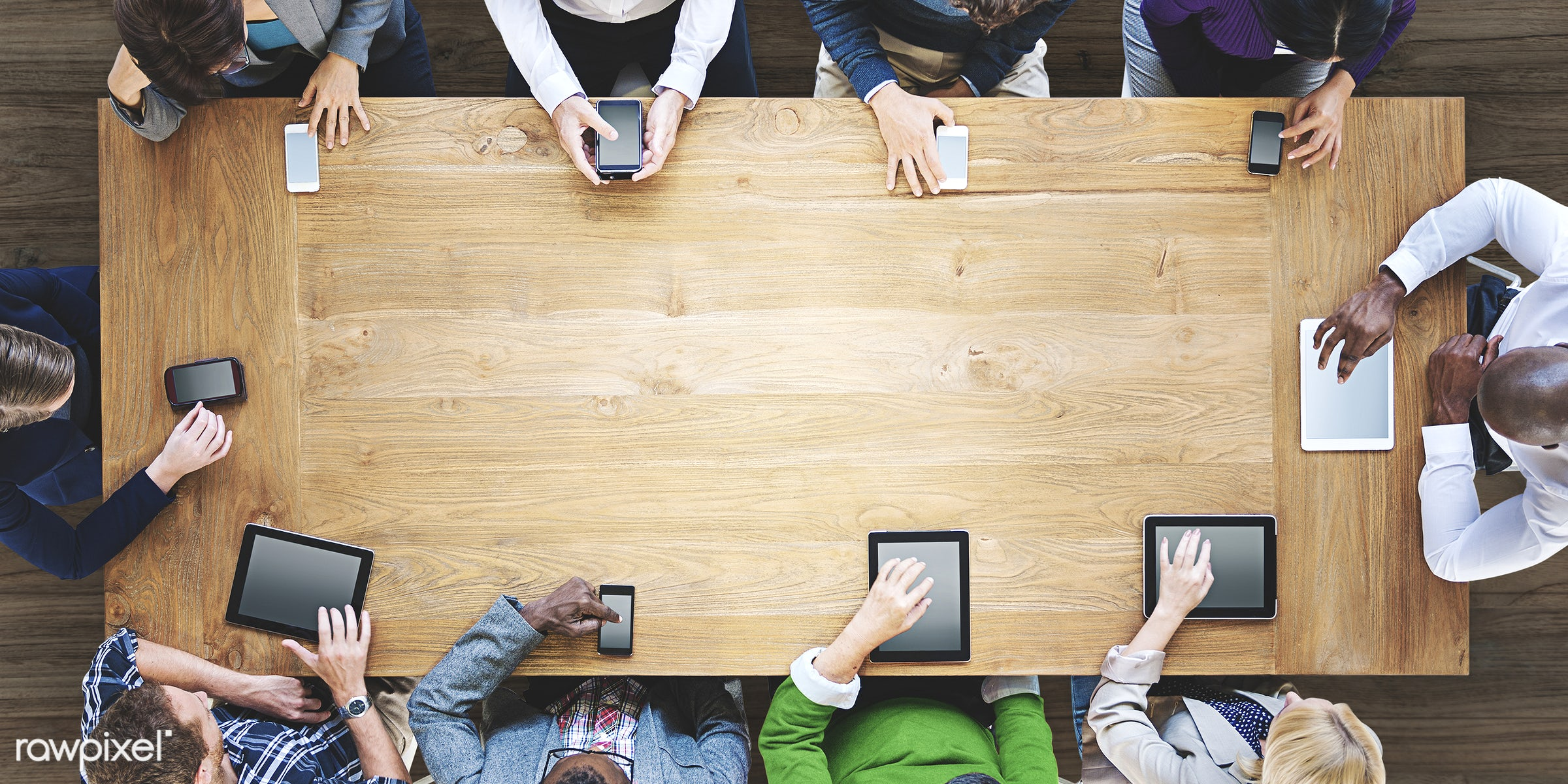 Business people using digital devices in a meeting - blank, brainstorming, business, businessman, colleagues, communication...