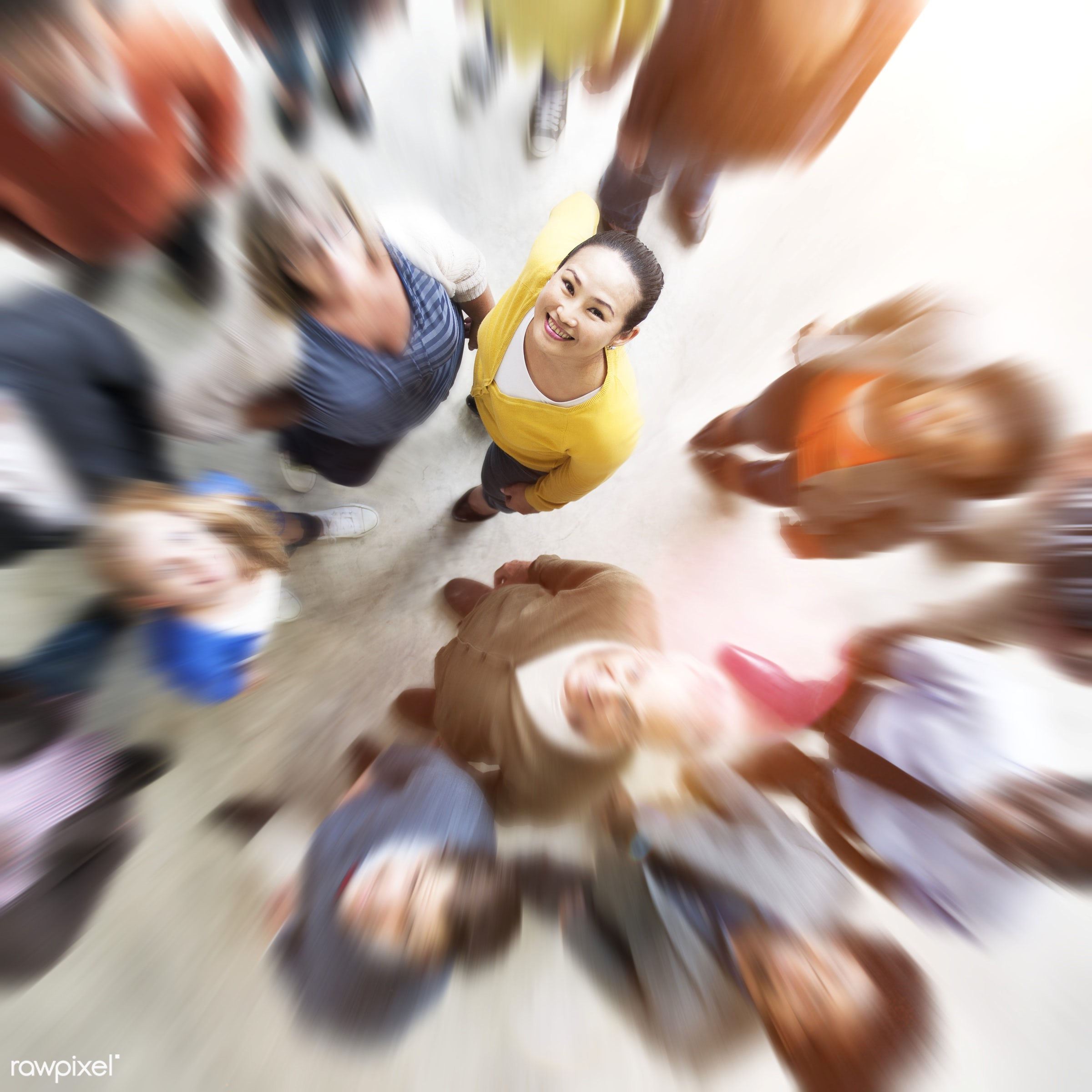 Blurred vision of diverse people - cheerful, communication, community, diverse, friends, friendship, group, meeting, men,...
