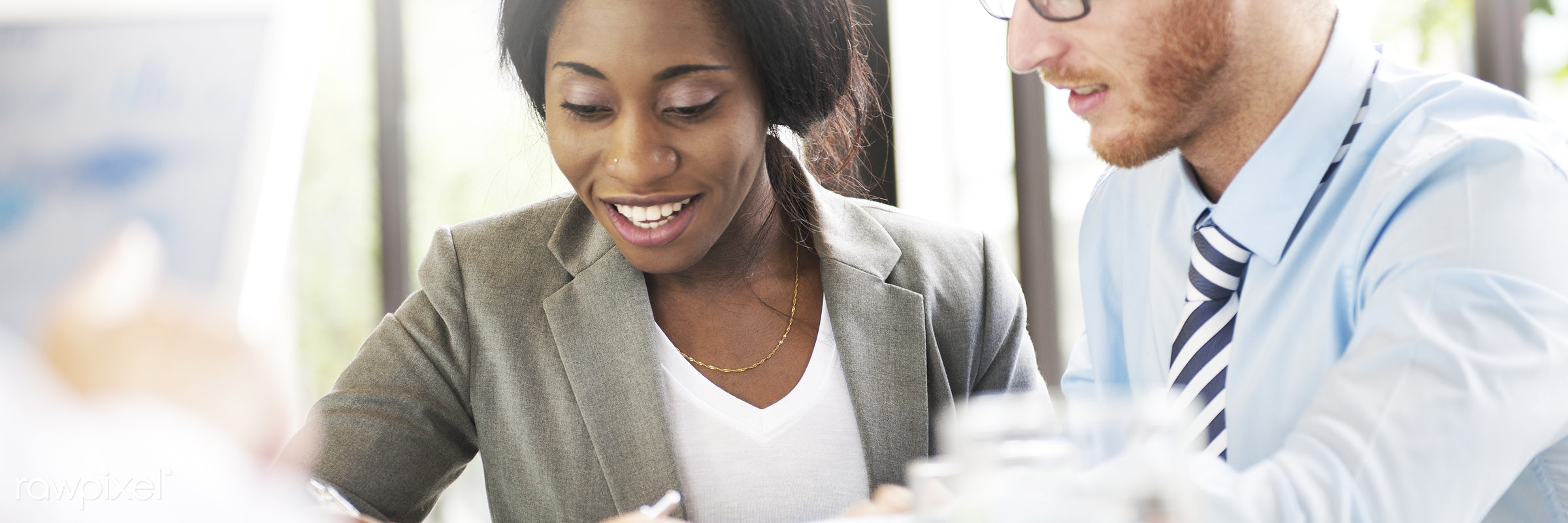 african descent, analysis, boardroom, brainstorming, business, business people, businessman, businesswoman, cheerful,...