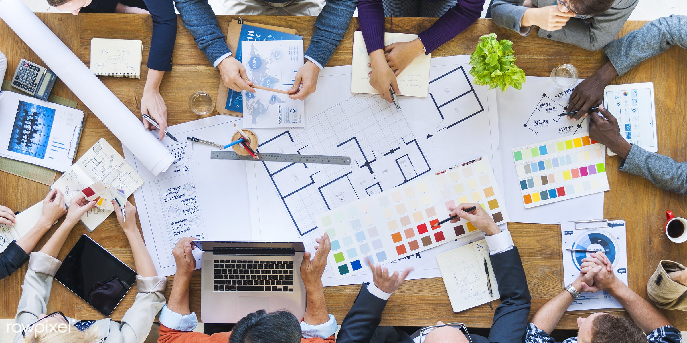 aerial view, african descent, architect, asian ethnicity, blueprint, board room, brainstorming, business, business people,...