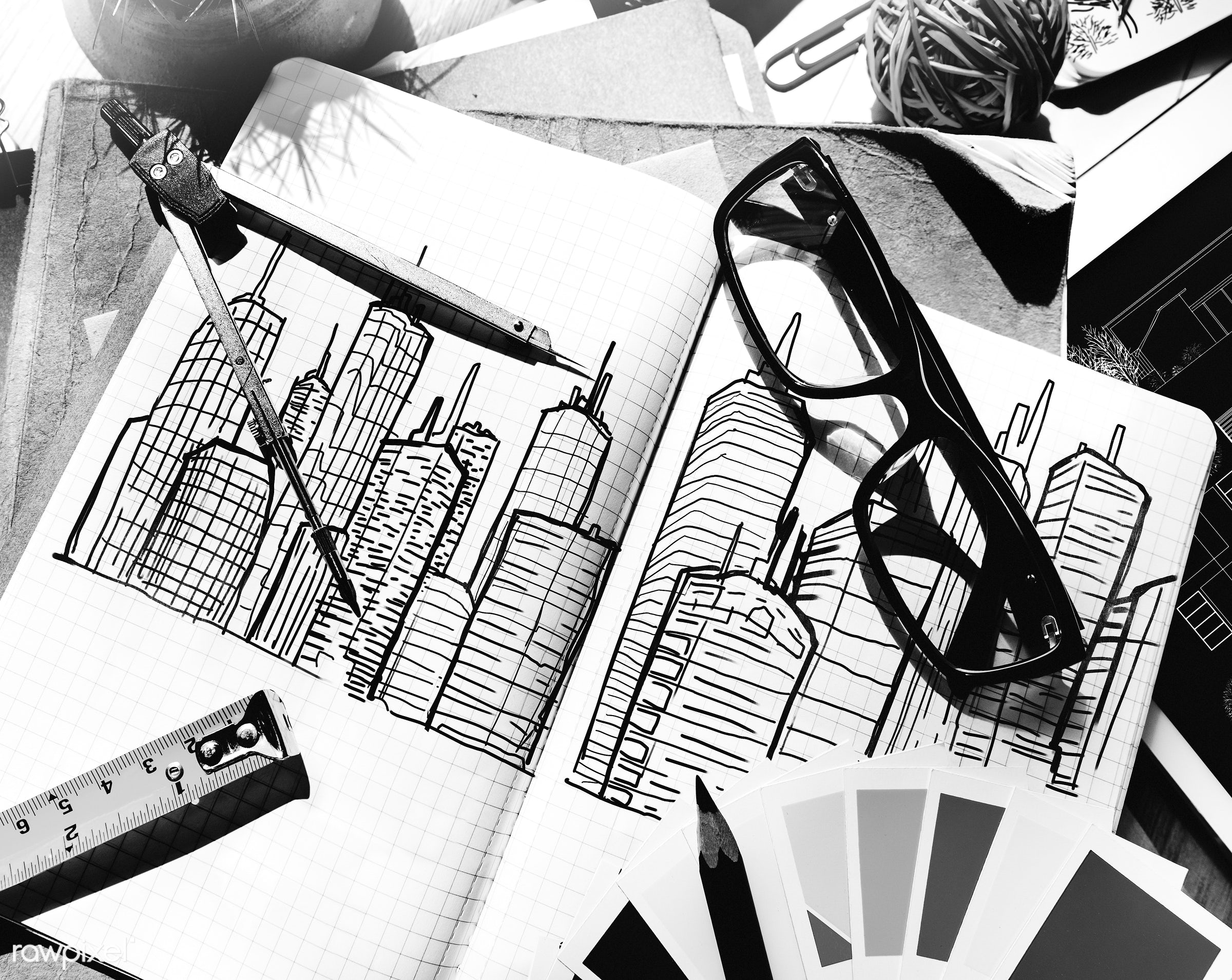 Aerial view of sketch book - aerial, architecture, blue print, building, career, color swatch, design, drawing, engineering...
