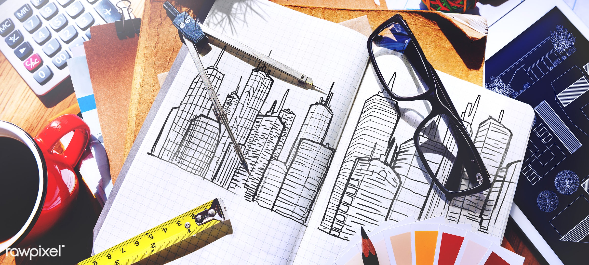 aerial, architecture, blue print, building, career, color swatch, design, drawing, engineering, equipment, nobody, notebook...