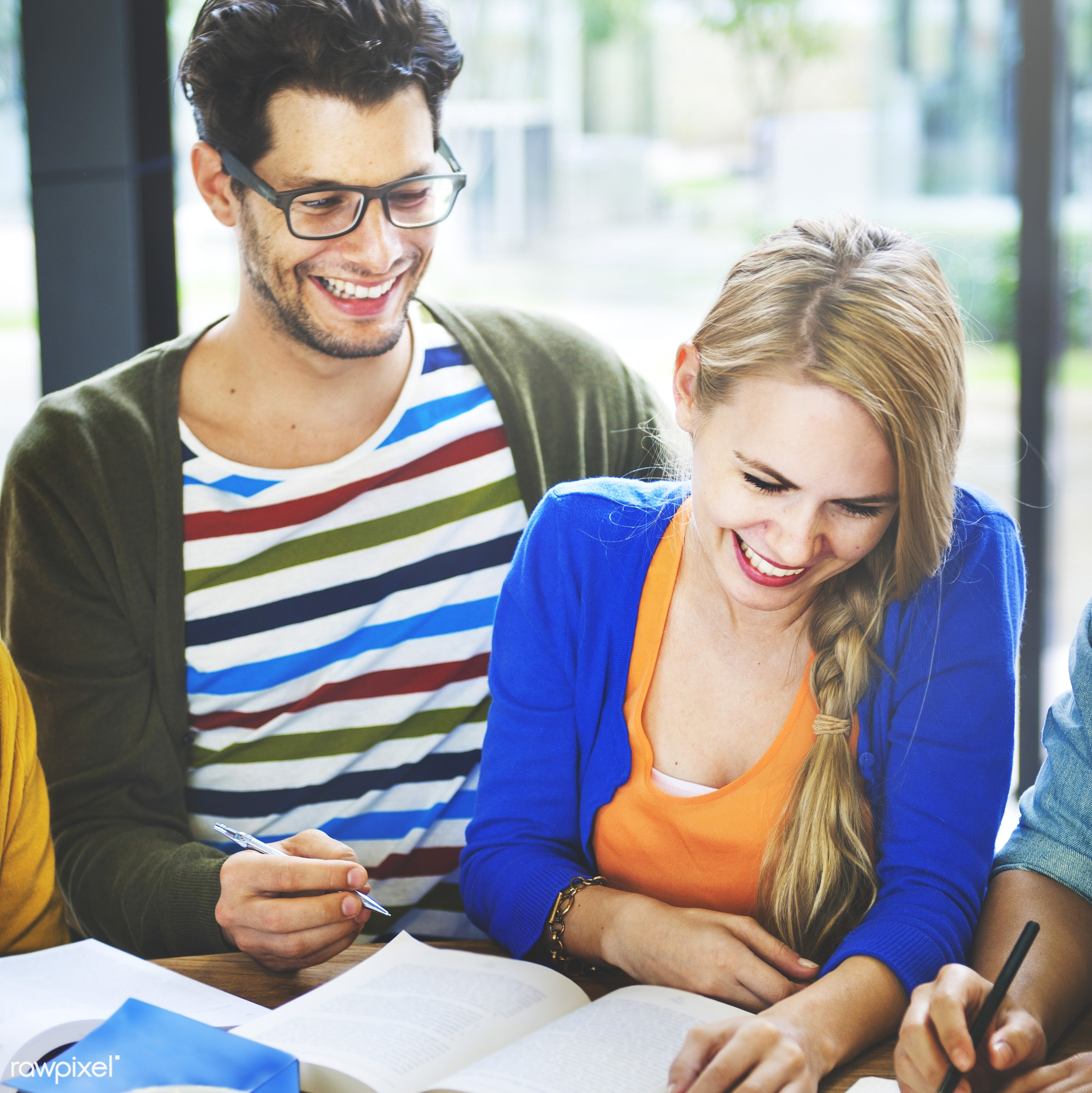 Study group of college students - academics, adult, books, cheerful, class, college, diverse, exam, friends, friendship,...