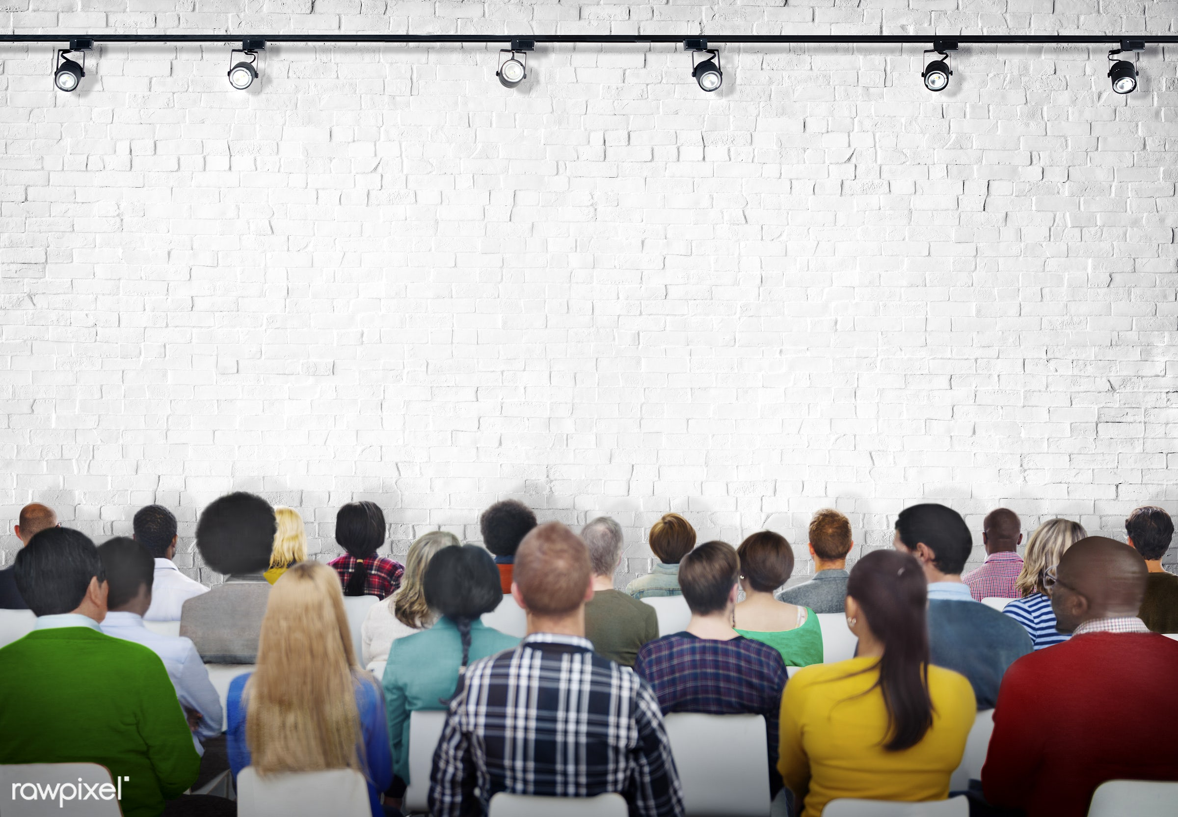 Visual Screen, white, african, african descent, asian, asian ethnicity, audience, blank, brick, brick wall, casual,...
