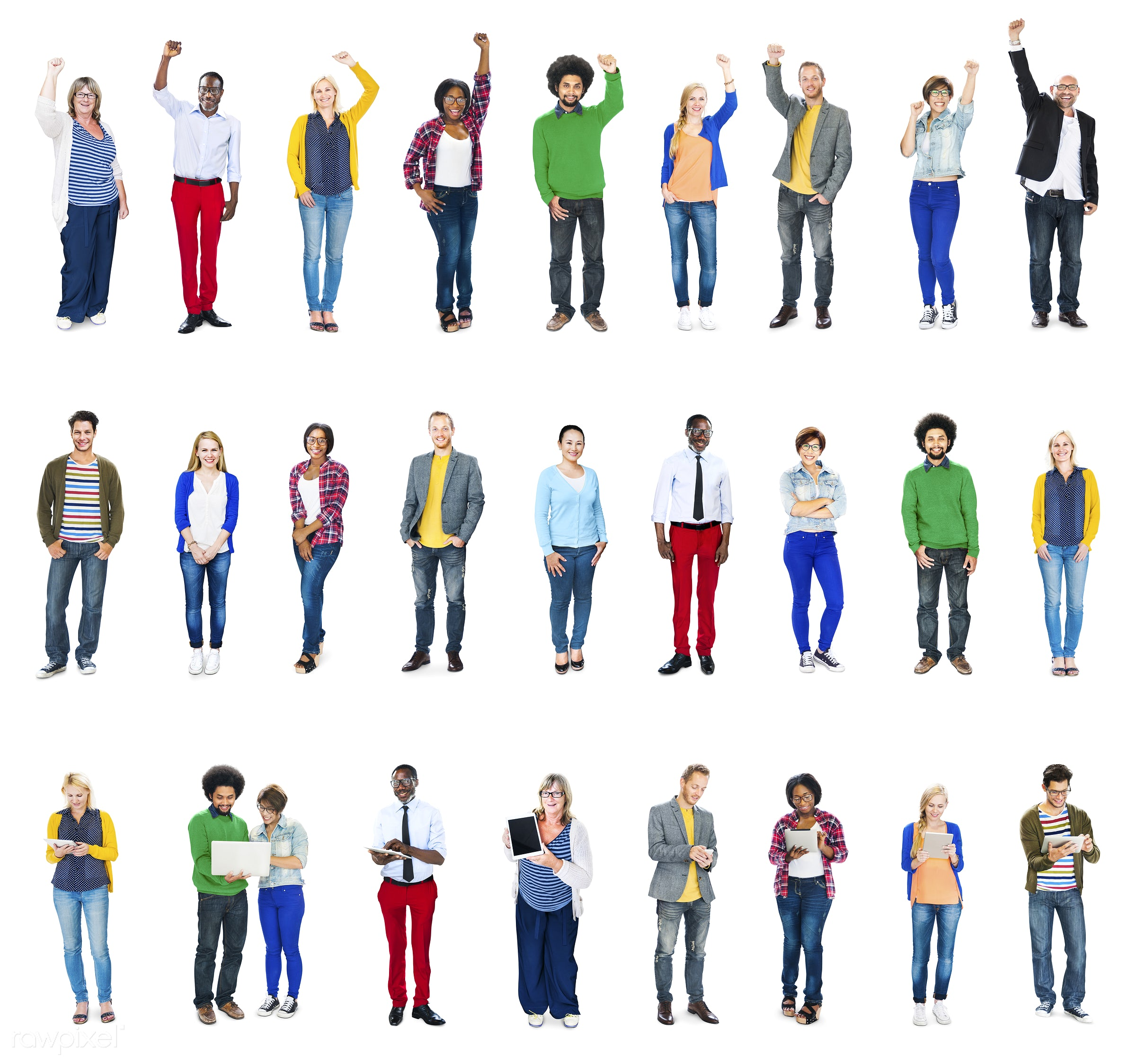Group of diverse people standing together - african american, african descent, asian, black, caucasian, cheerful, diversity...