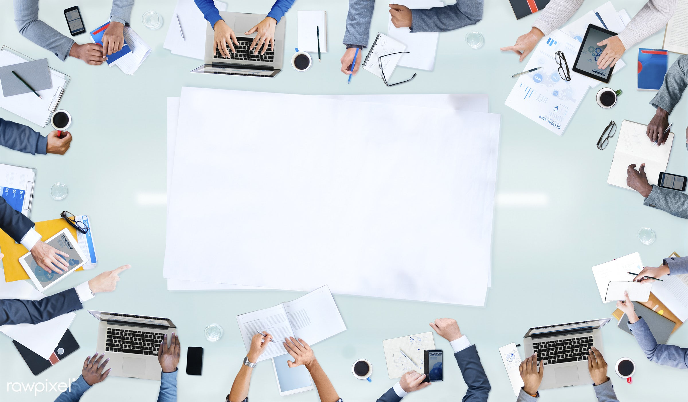 administration, aerial view, african descent, analysis, arms, asian ethnicity, blank, brainstorming, business, businessman,...