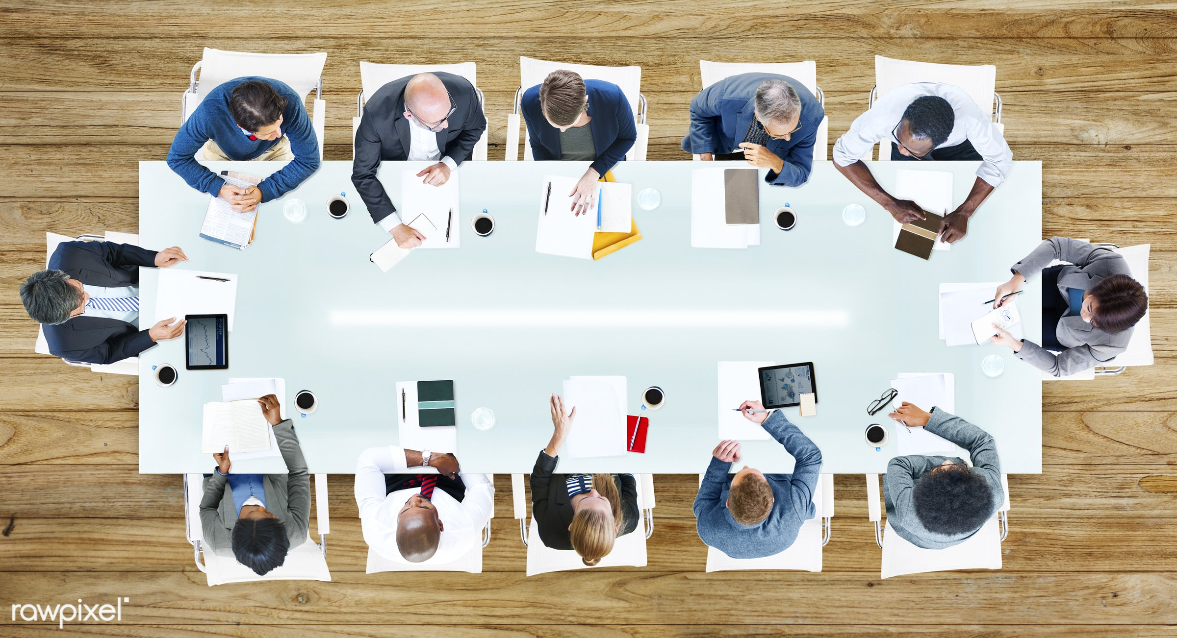 administration, aerial view, african descent, asian ethnicity, board meeting, brainstorming, business, business people,...