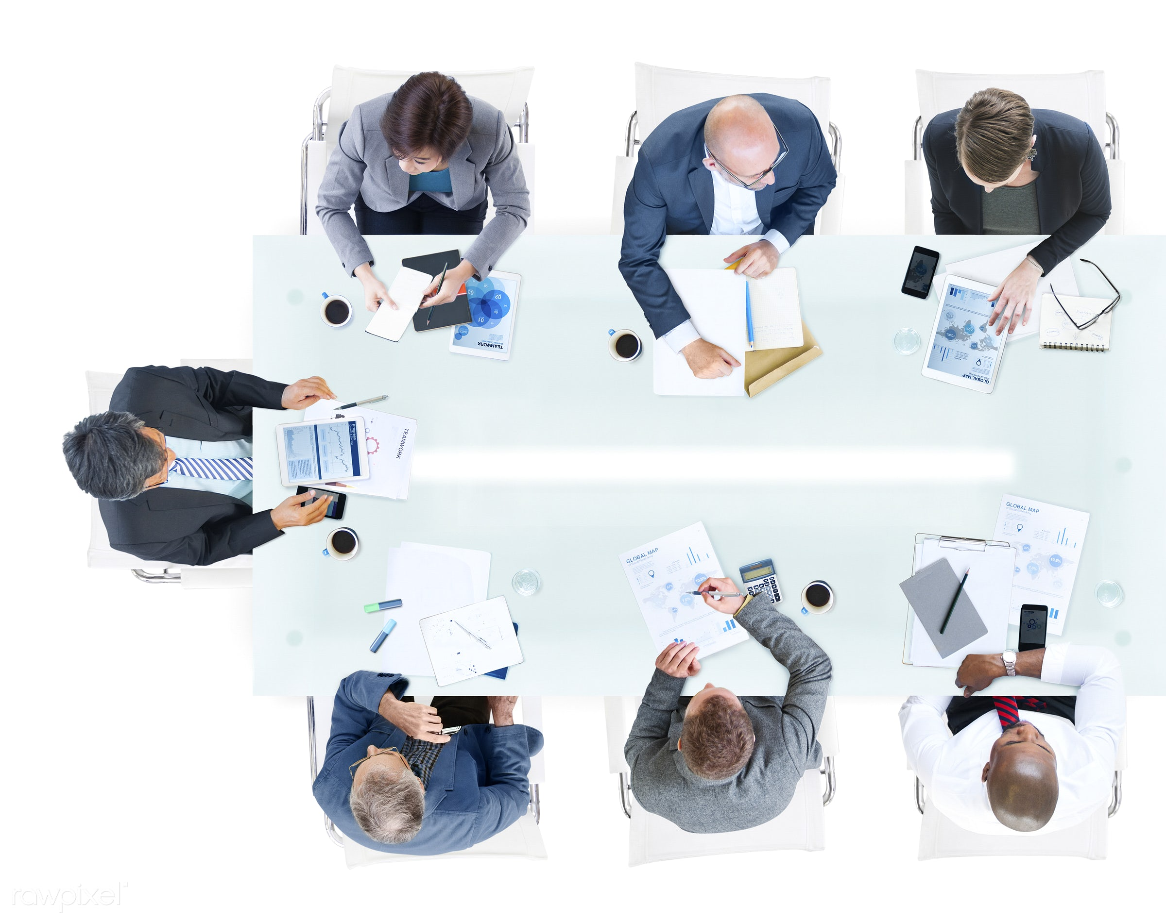 aerial view, african descent, asian ethnicity, brainstorming, business, business people, businessmen, businesswomen,...