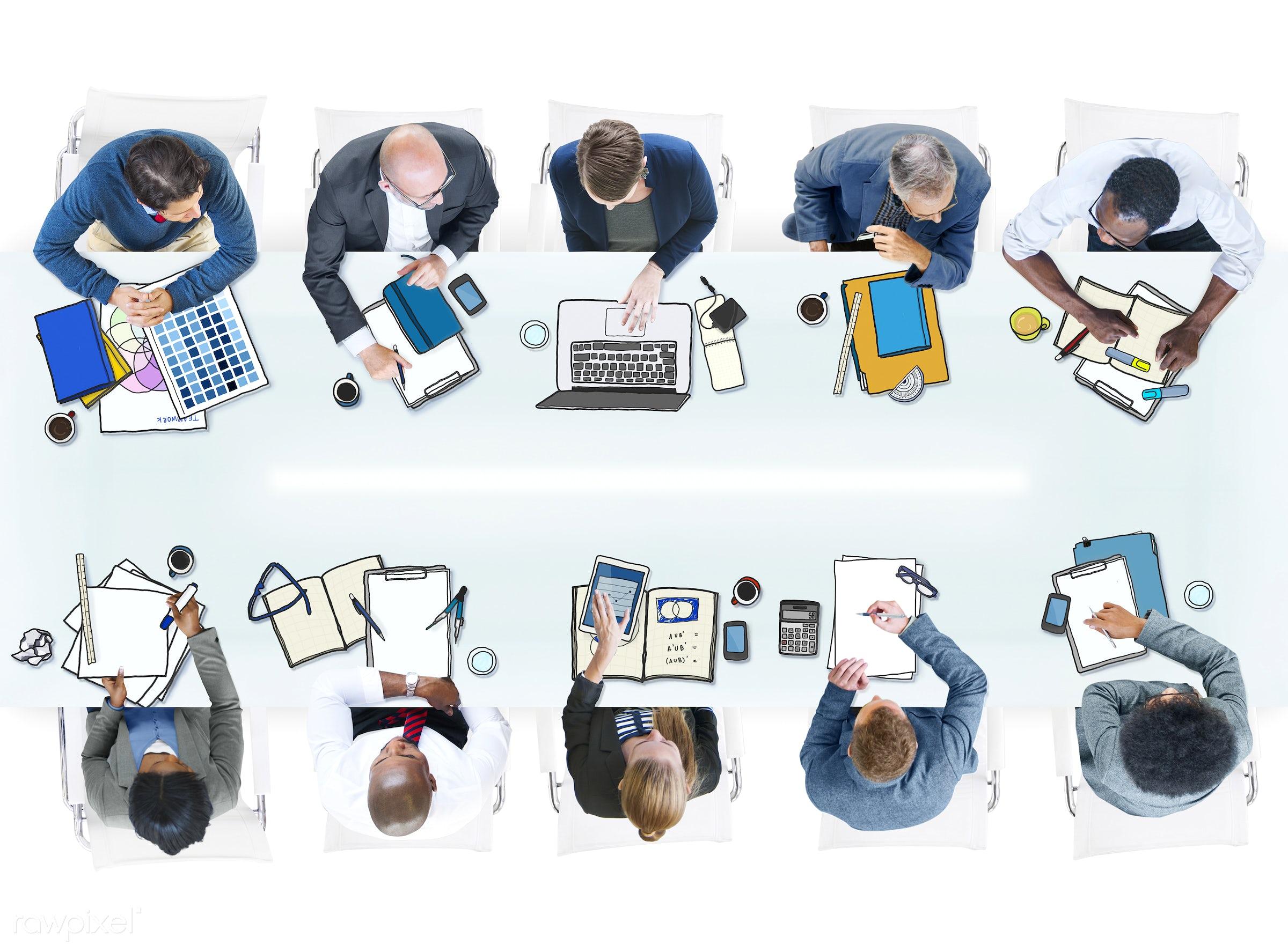 aerial view, african descent, asian ethnicity, brainstorming, business, business people, businessmen, businesswomen,...