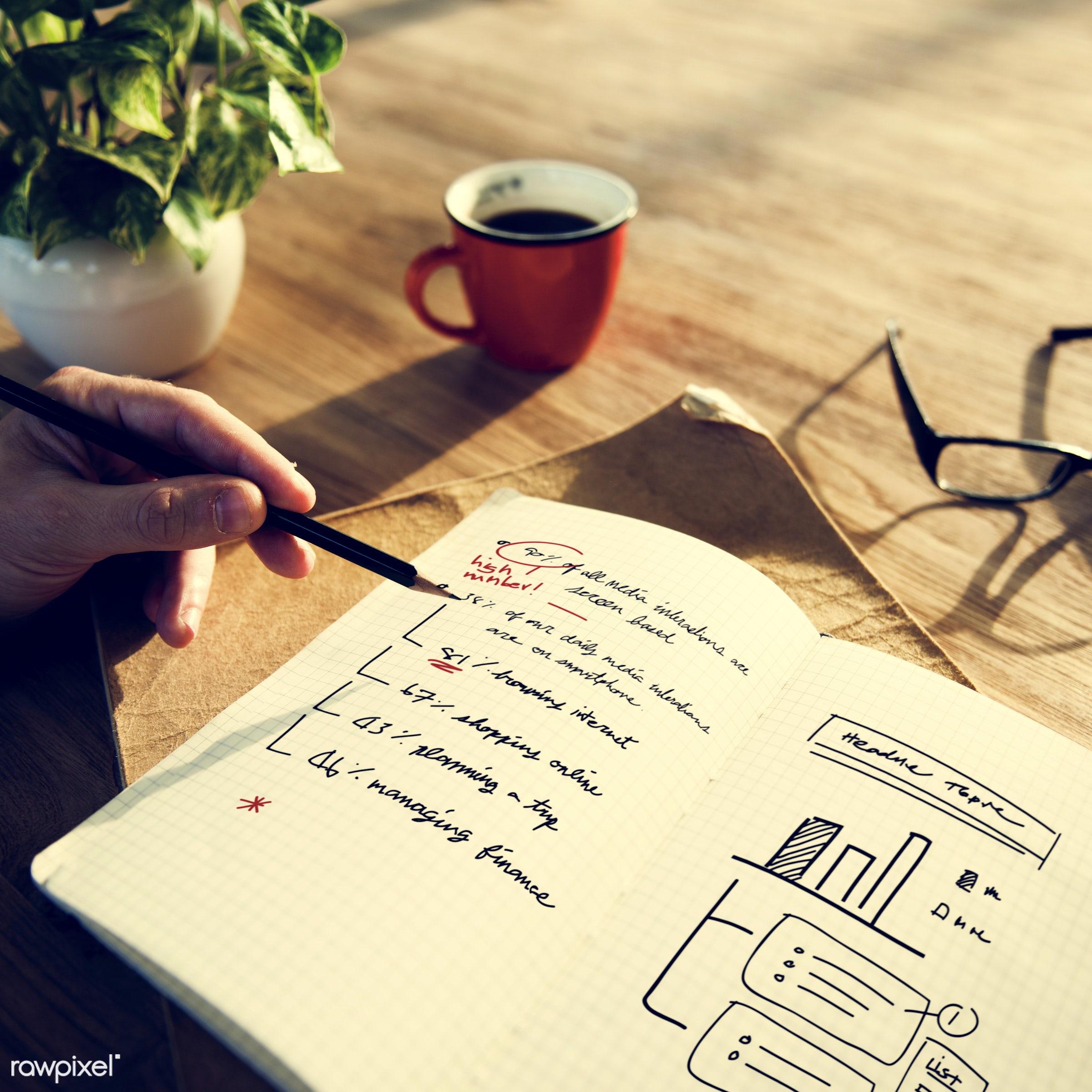 book, business, business plan, coffee, development, drinks, glasses, graph, growth, hand, human hand, improvement, marketing...