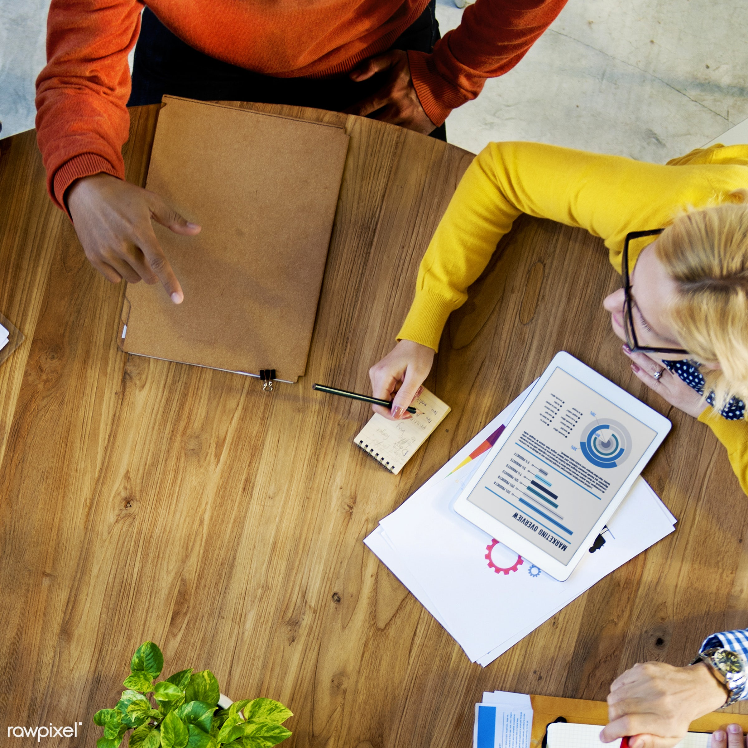 aerial view, analysis, brainstorming, casual, communication, connection, data, digital tablet, discussion, documents,...