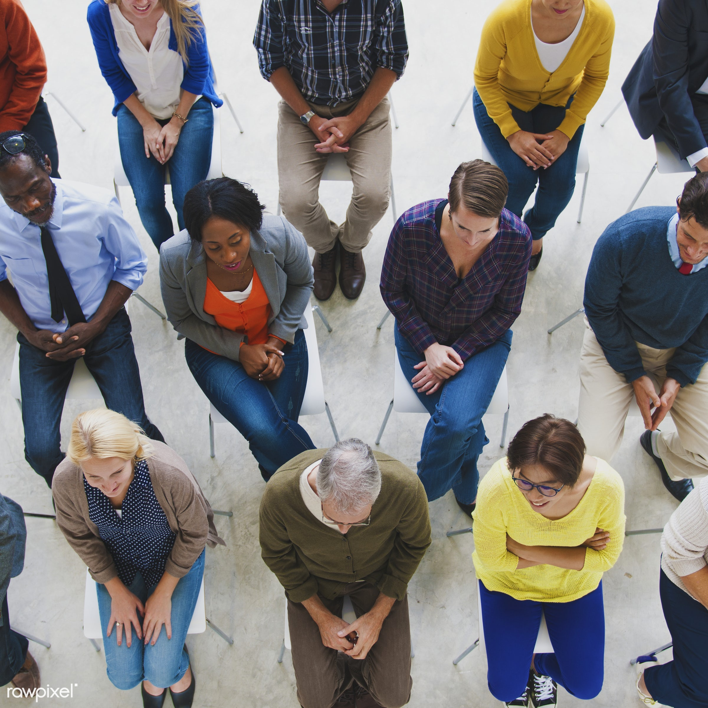 Group of diverse people in a seminar - cheerful, communication, community, diverse, friends, friendship, group, meeting, men...