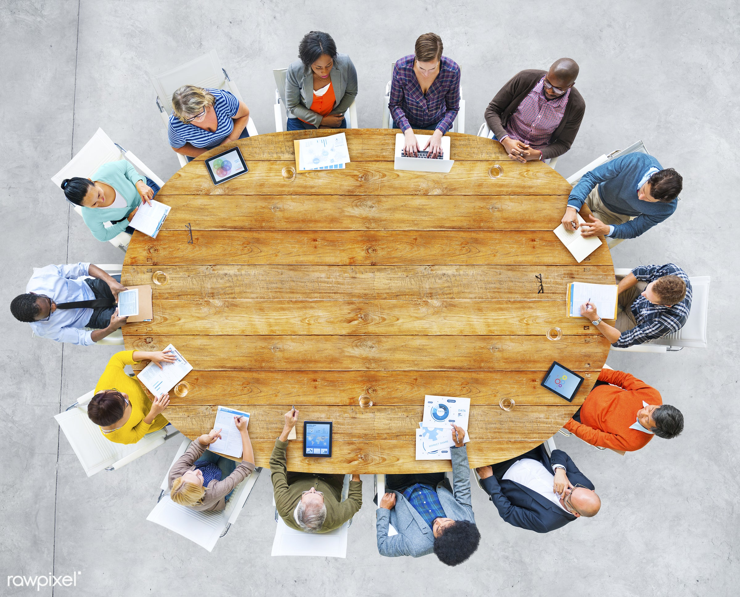 aerial view, african, african descent, asian, asian ethnicity, board room, brainstorming, business, casual, cement floor,...