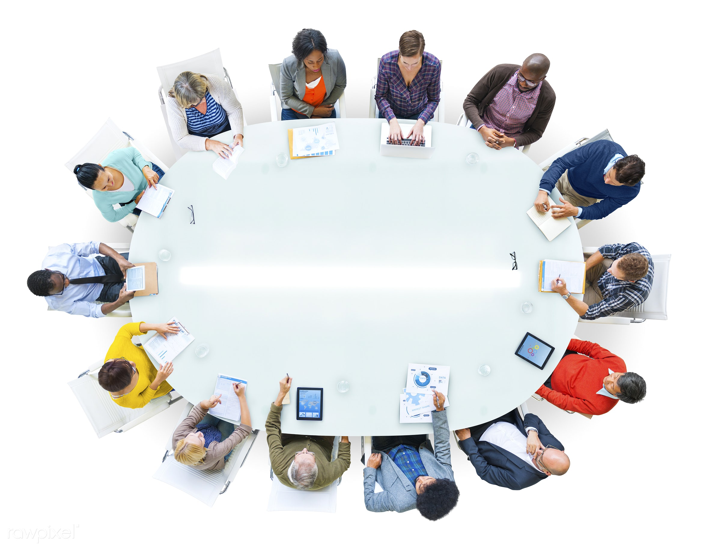 aerial view, african descent, asian ethnicity, blank, casual, cheerful, circle, colourful, community, conference, conference...