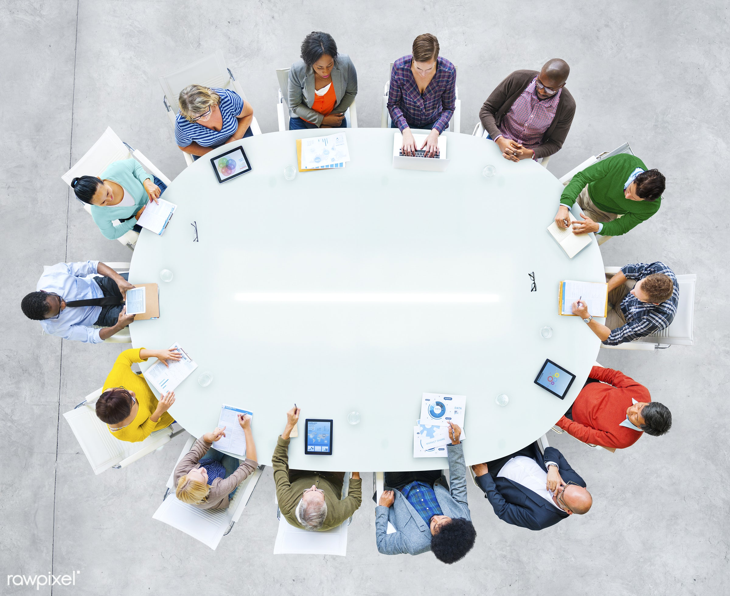 aerial view, african descent, asian ethnicity, board room, brainstorming, business, business people, business person,...