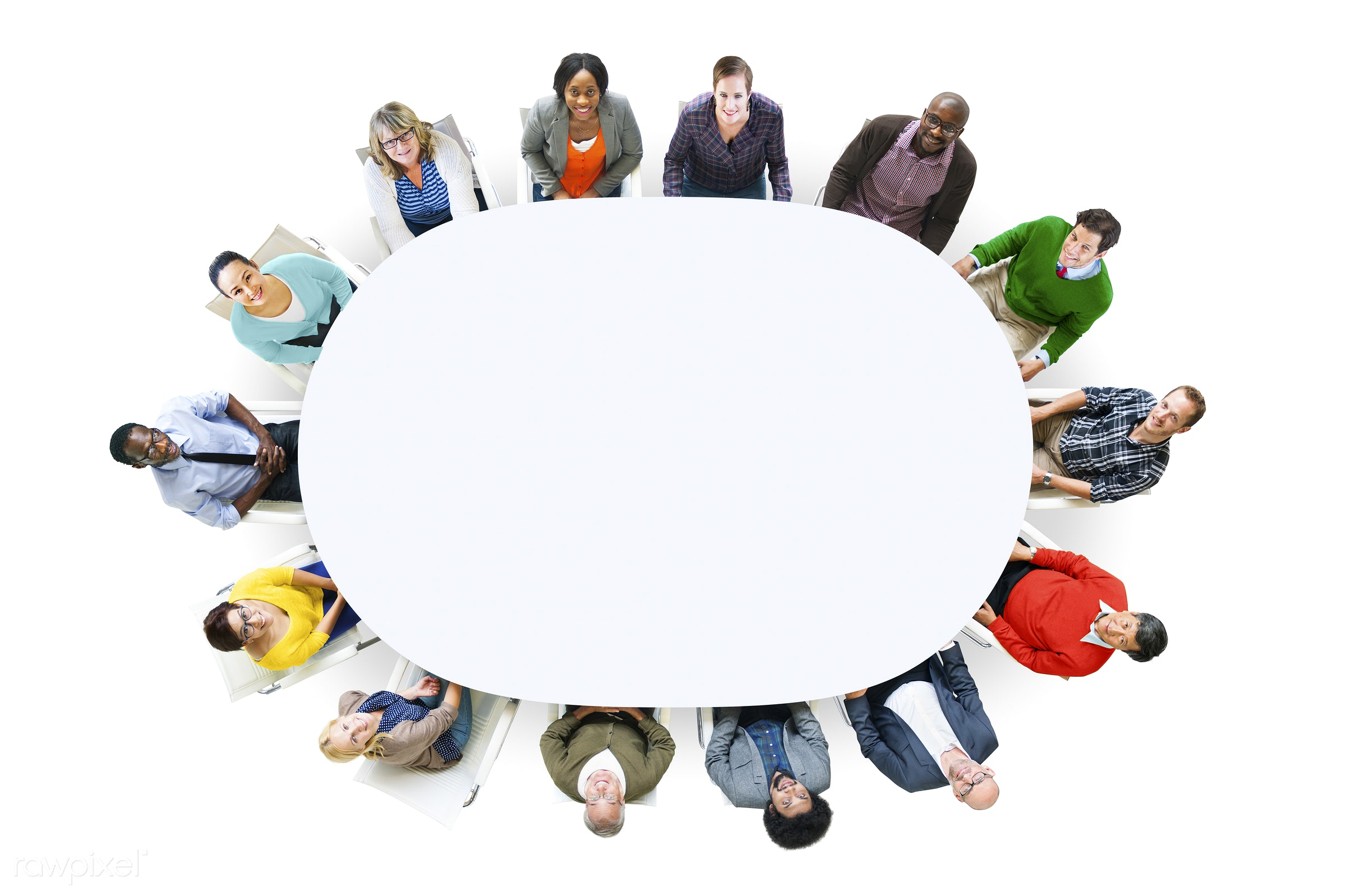 aerial view, african descent, asian ethnicity, blank, casual, cheerful, circle, color, colorful, community, conference,...