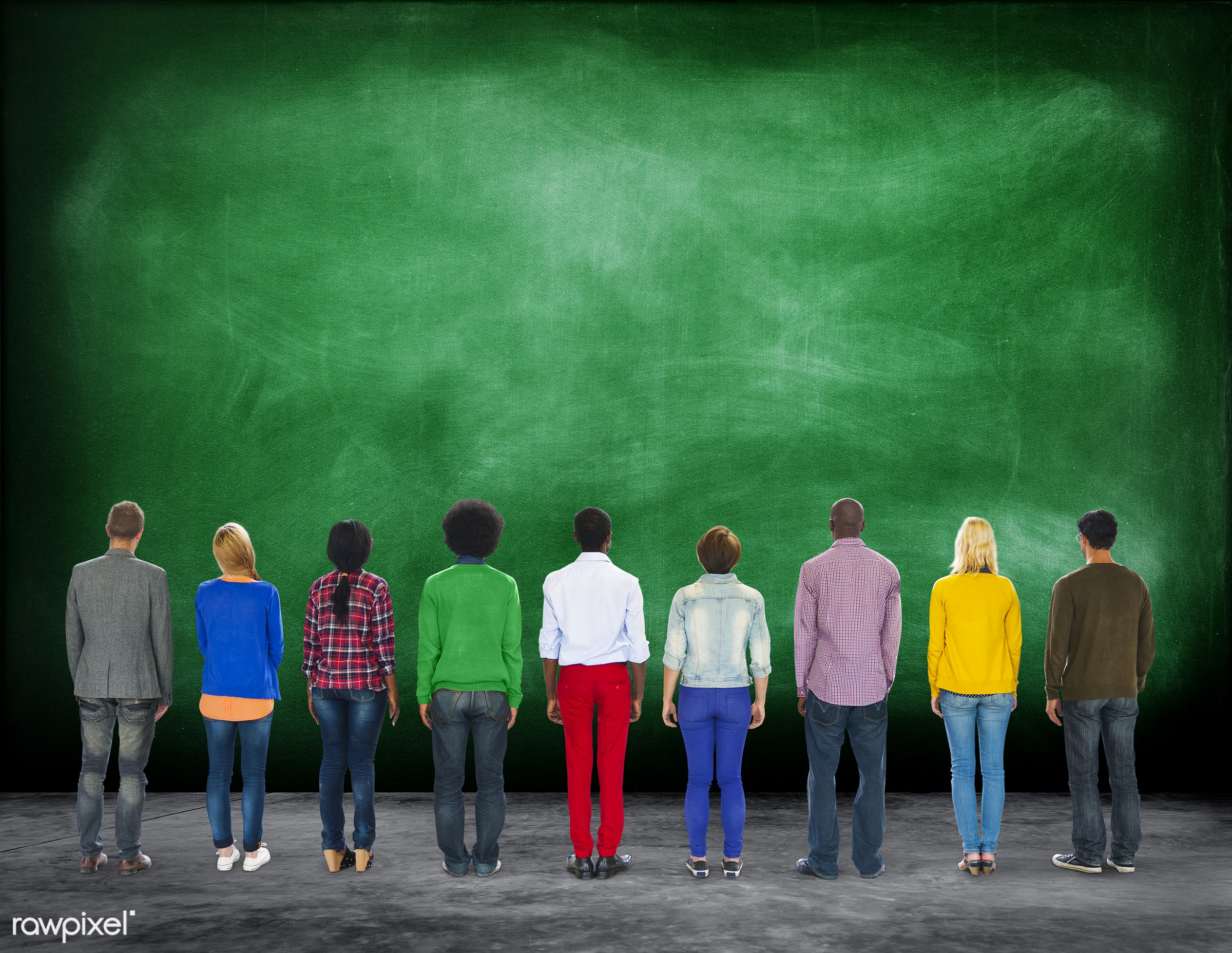 african descent, asian ethnicity, blackboard, casual, cheerful, diverse, diversity, education, ethnicity, group, group of...