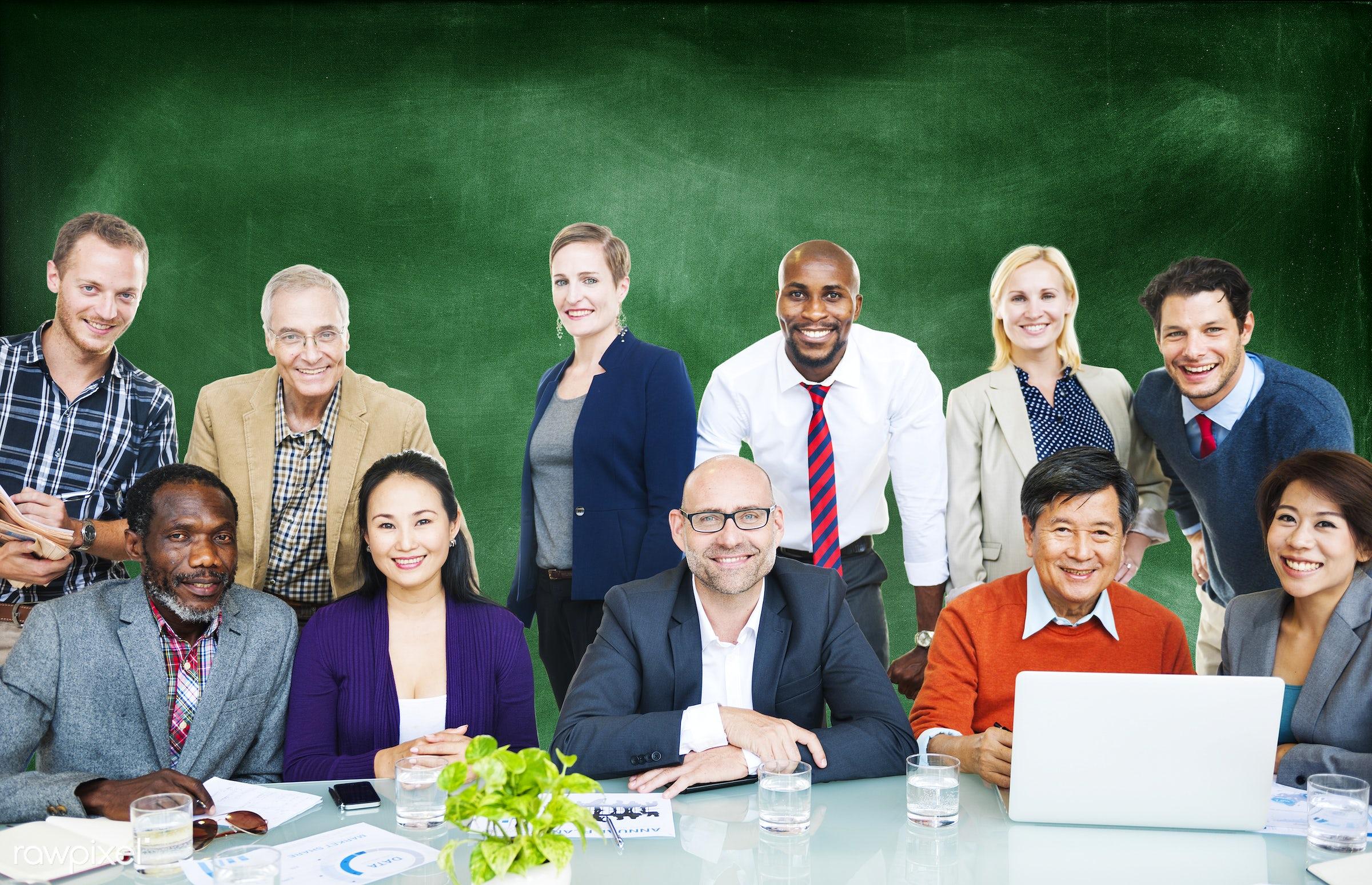 african descent, asian ethnicity, blackboard, business, business people, businessmen, businesswomen, casual, communication,...