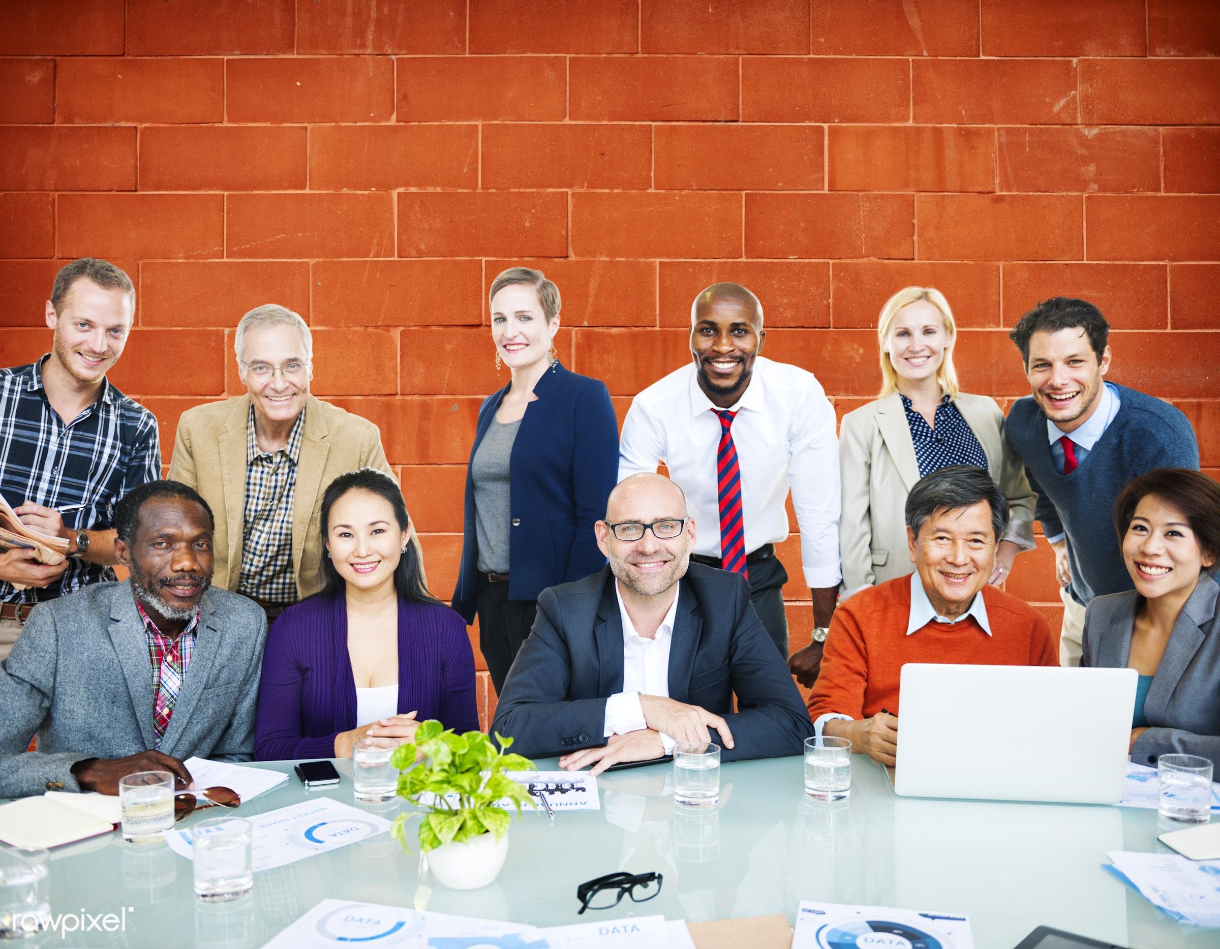african descent, asian ethnicity, brick, brick wall, business, business people, businessmen, businesswomen, casual,...