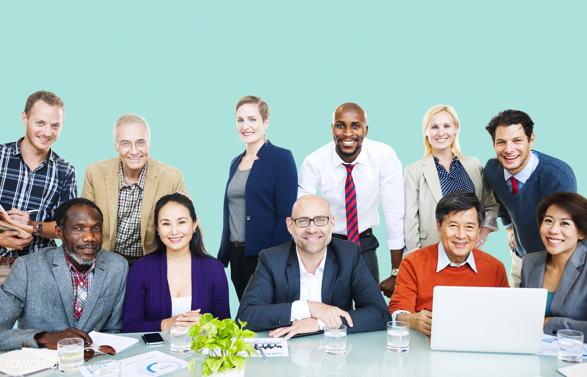 african descent, asian ethnicity, blue, business, business people, businessmen, businesswomen, casual, communication,...