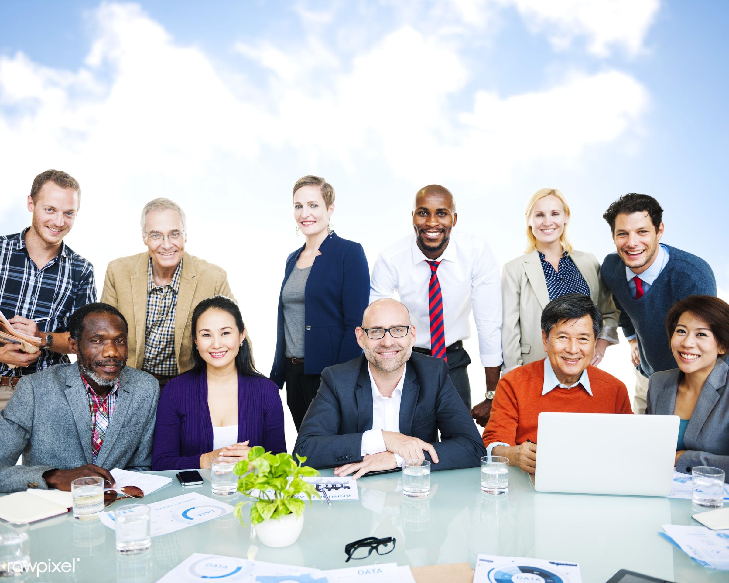african descent, asian ethnicity, business, business people, businessmen, businesswomen, casual, clodscape, cloud,...