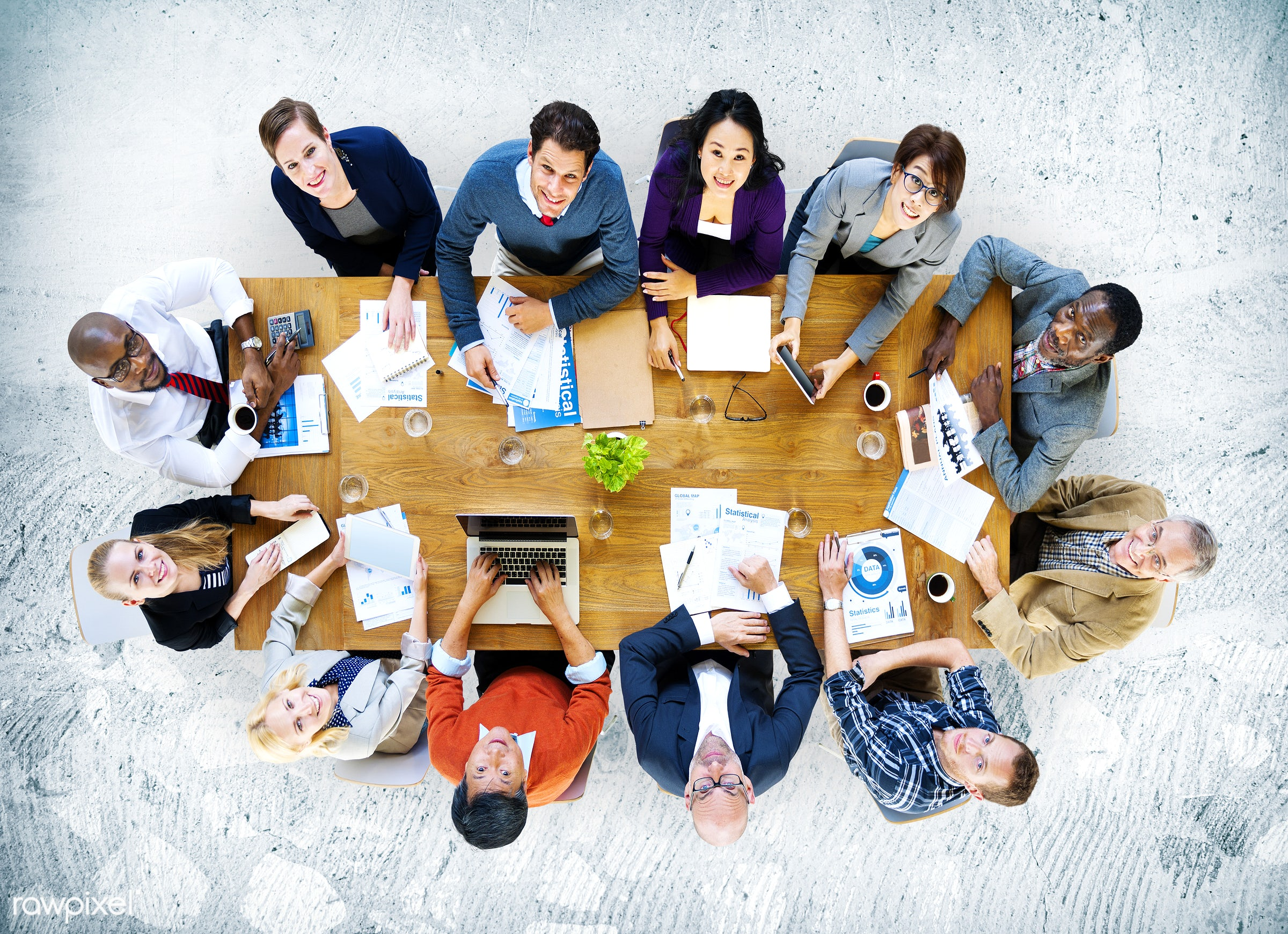 aerial view, african descent, asian ethnicity, business, business people, businessmen, businesswomen, cheerful,...