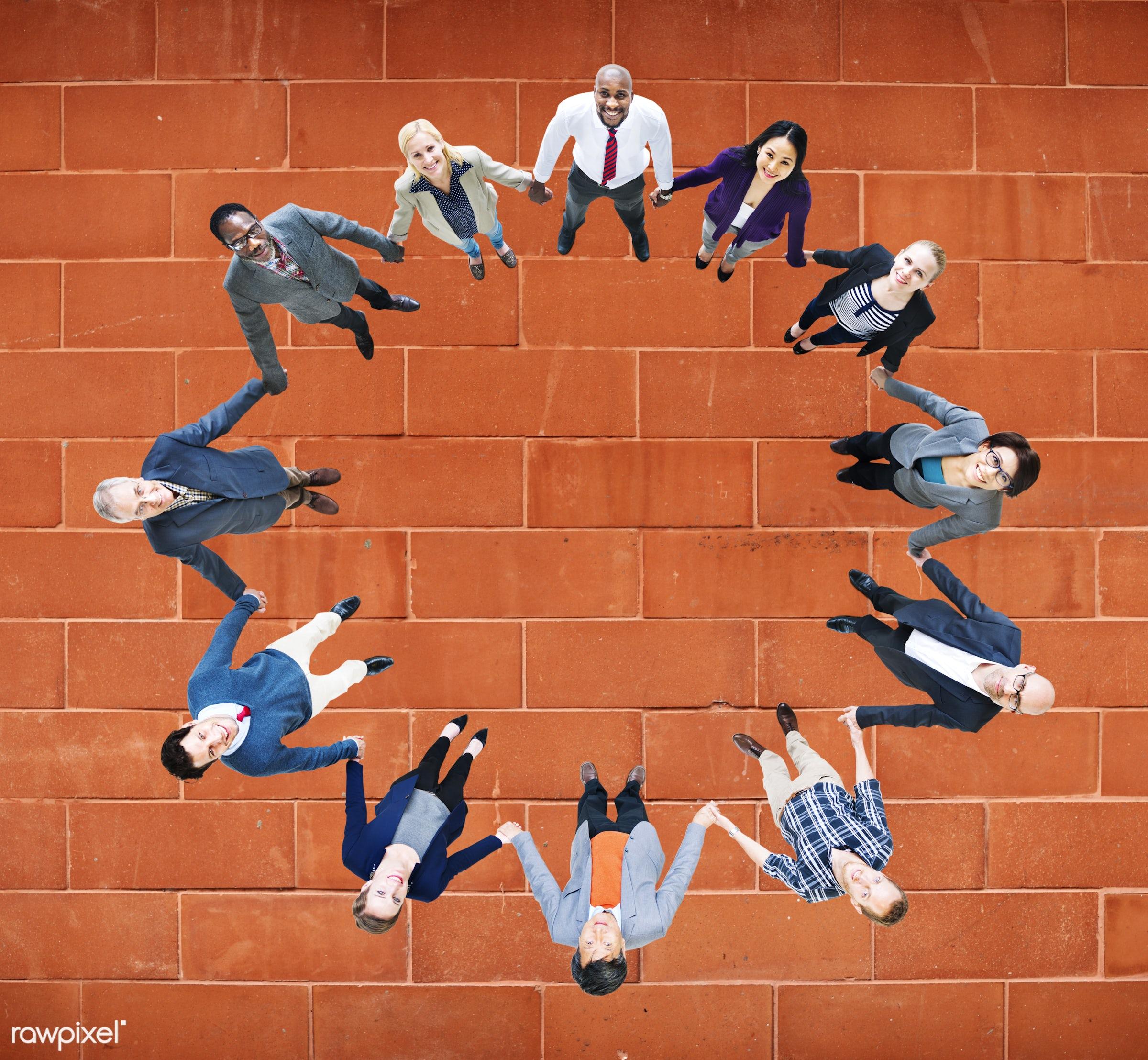 aerial view, african descent, asian ethnicity, blank, brick, business, business people, businessmen, businesswomen, cheerful...