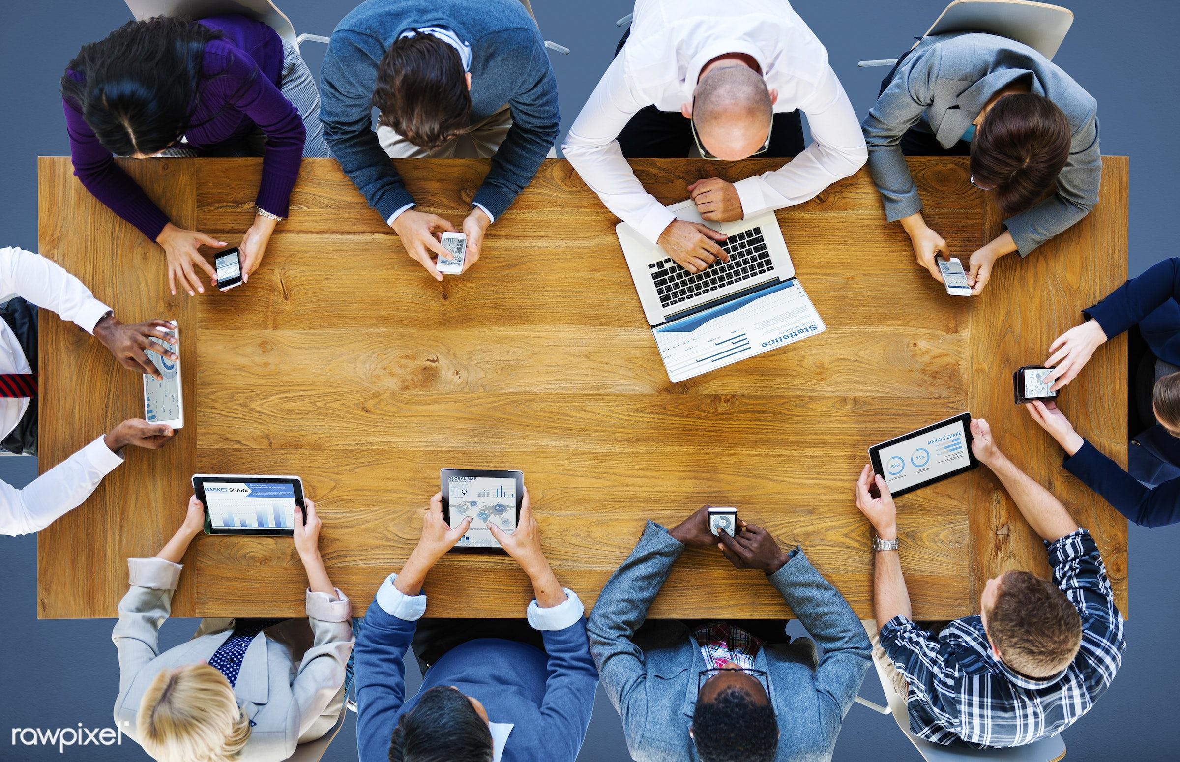aerial view, analysis, business, business people, businessmen, businesswomen, communication, connection, conversation,...