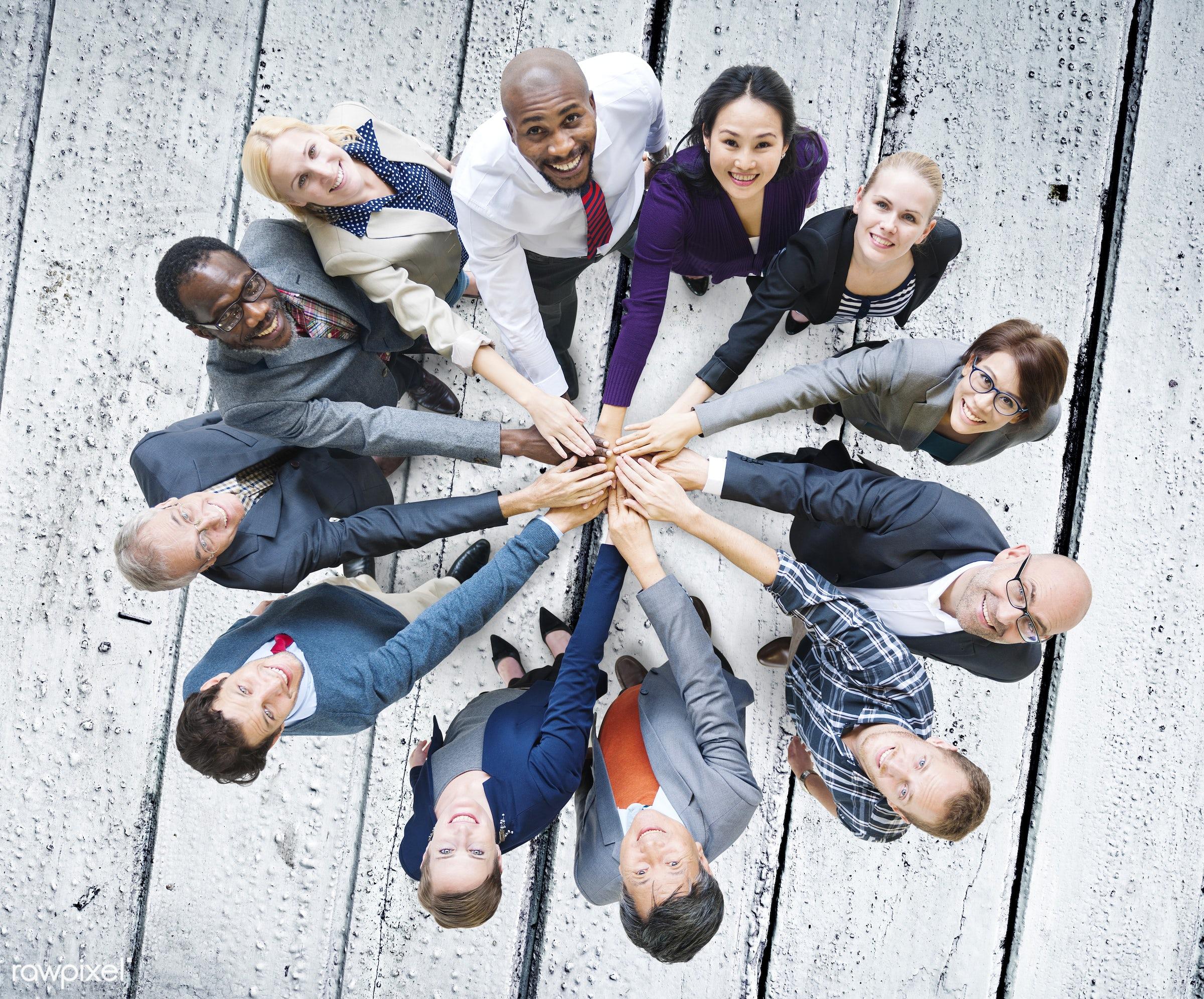 african descent, asian ethnicity, blue, business, business people, businessmen, businesswomen, cheerful, communication,...