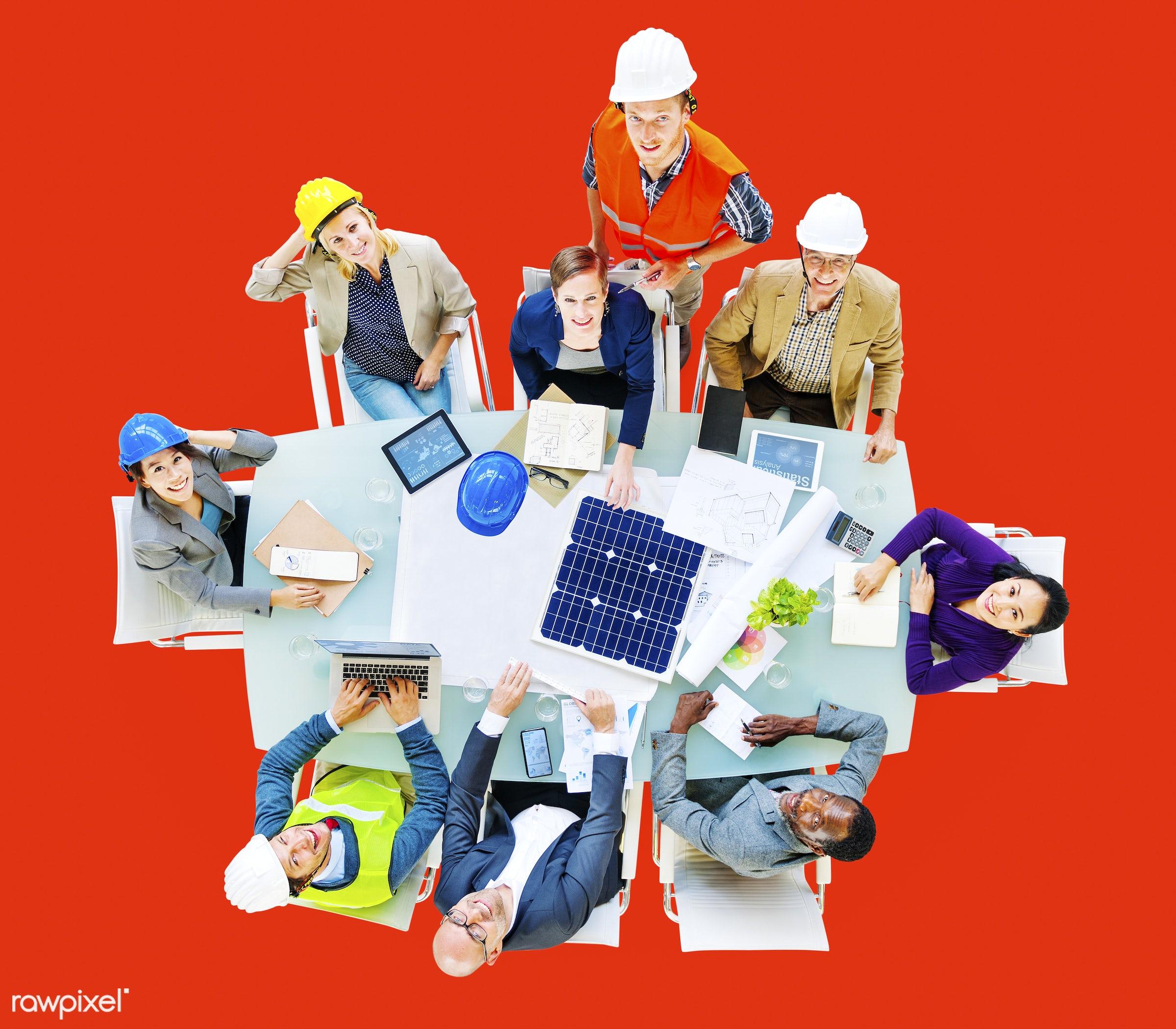 african descent, architect, architecture, asian ethnicity, blueprint, brainstorming, business, business people, businessmen...