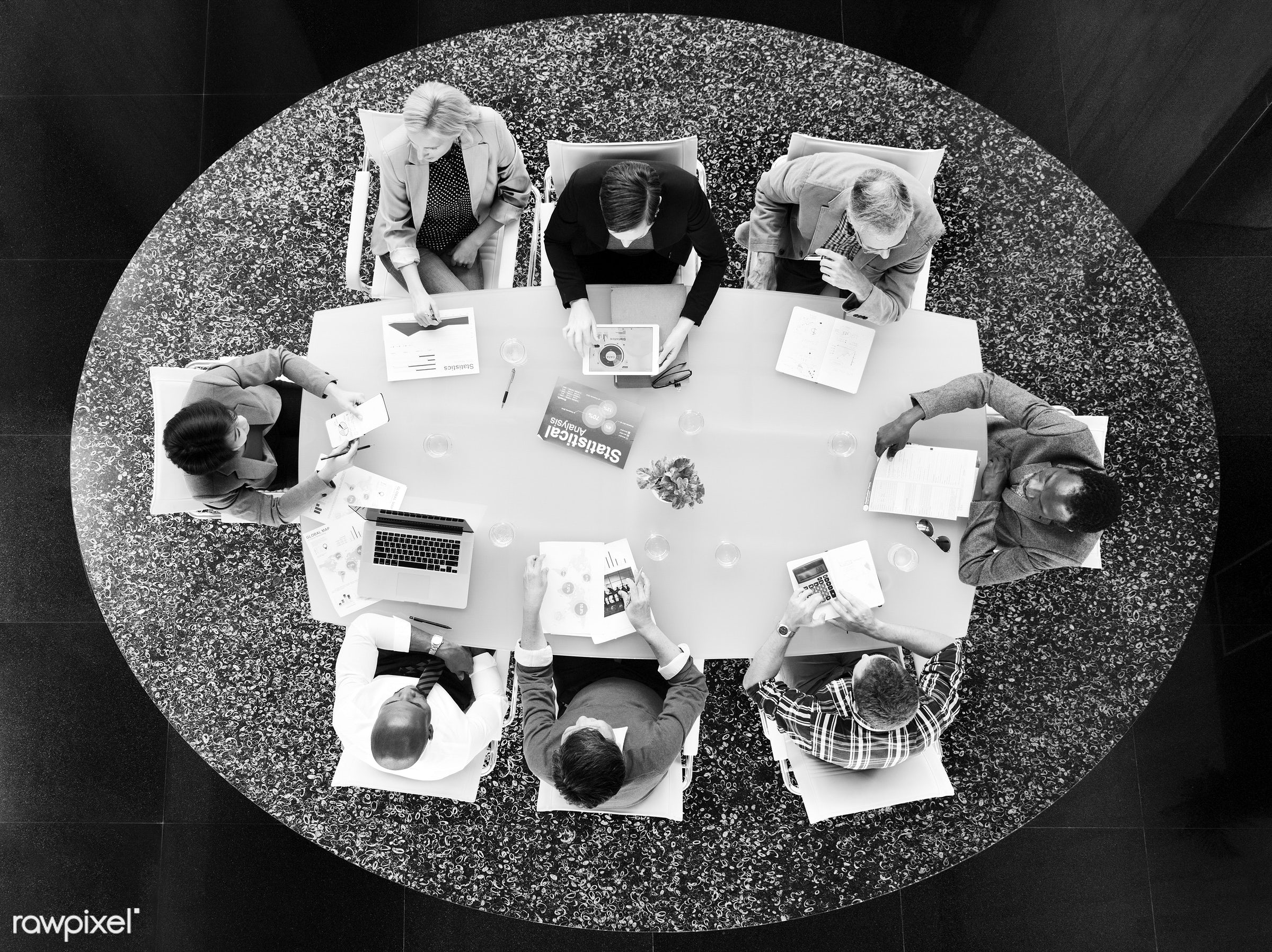aerial view, board meeting, board room, brainstorming, business, business issues, business people, business person,...