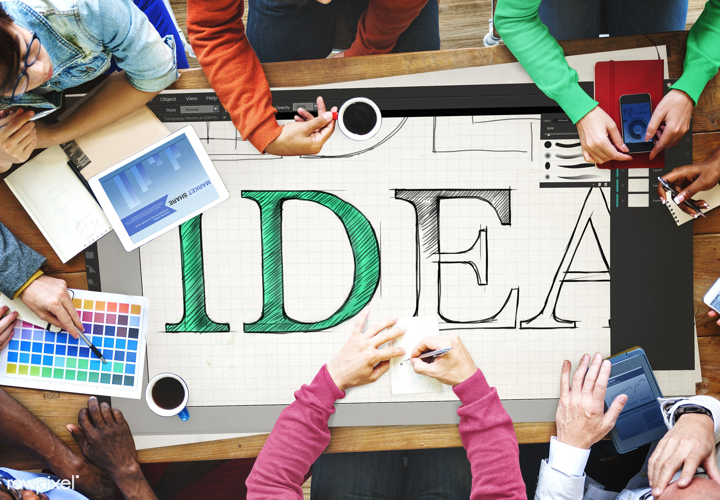 idea, discussion, small business, teamwork, sharing, casual, working, aerial view, ideas, diversity, creative, coffee,...