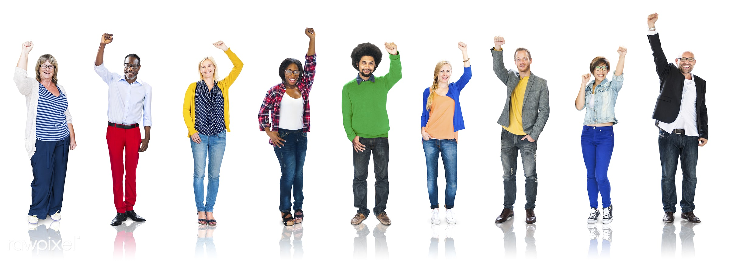 african, african descent, afro, arms raised, asian, asian ethnicity, casual, celebration, cheerful, colorful, communication...