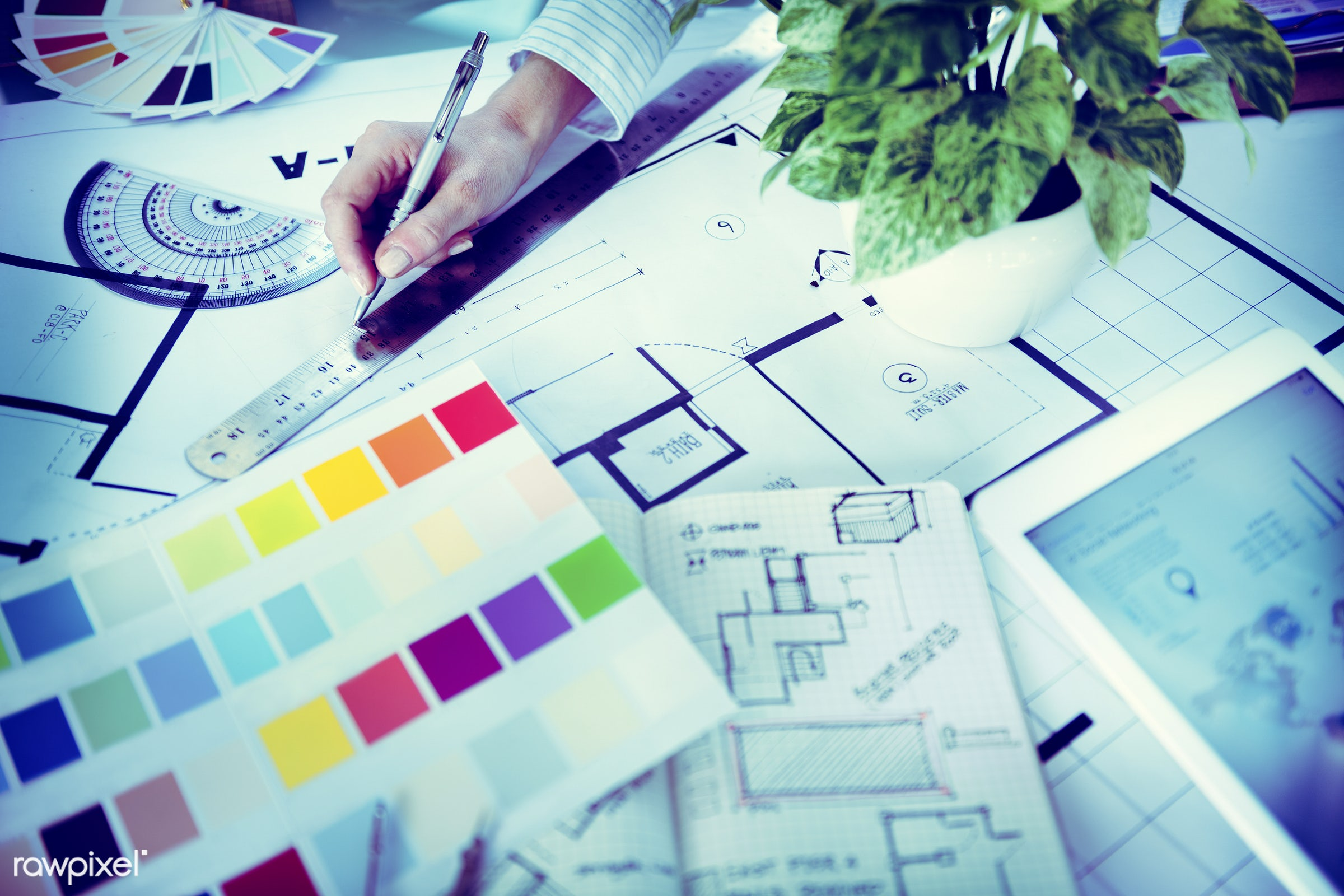 architect, blueprint, color swatch, colorful, creative occupation, creativity, design, design studio, designer, desk,...