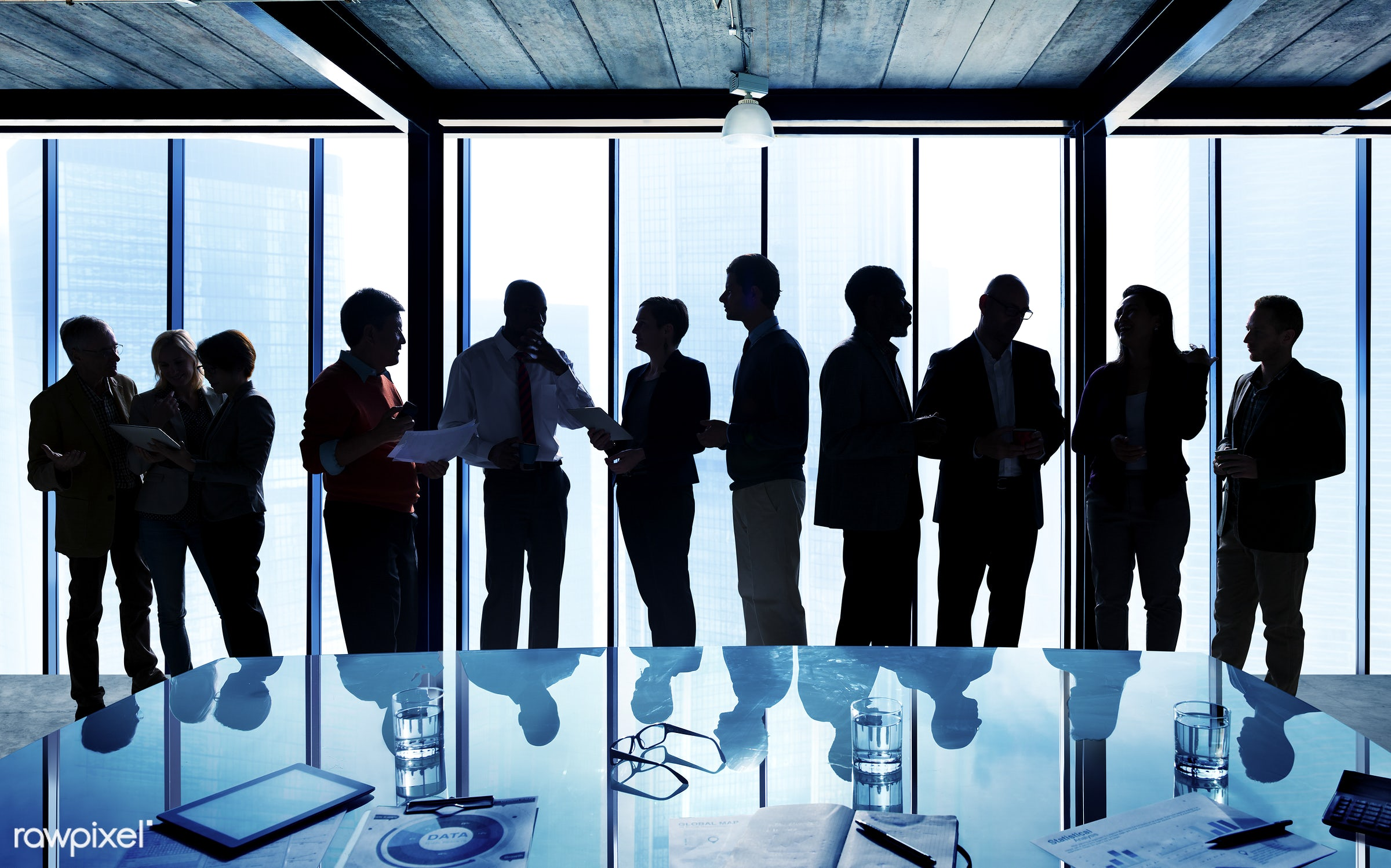 Group of diverse people having a business meeting - african american, african descent, architecture, asian, black, caucasian...