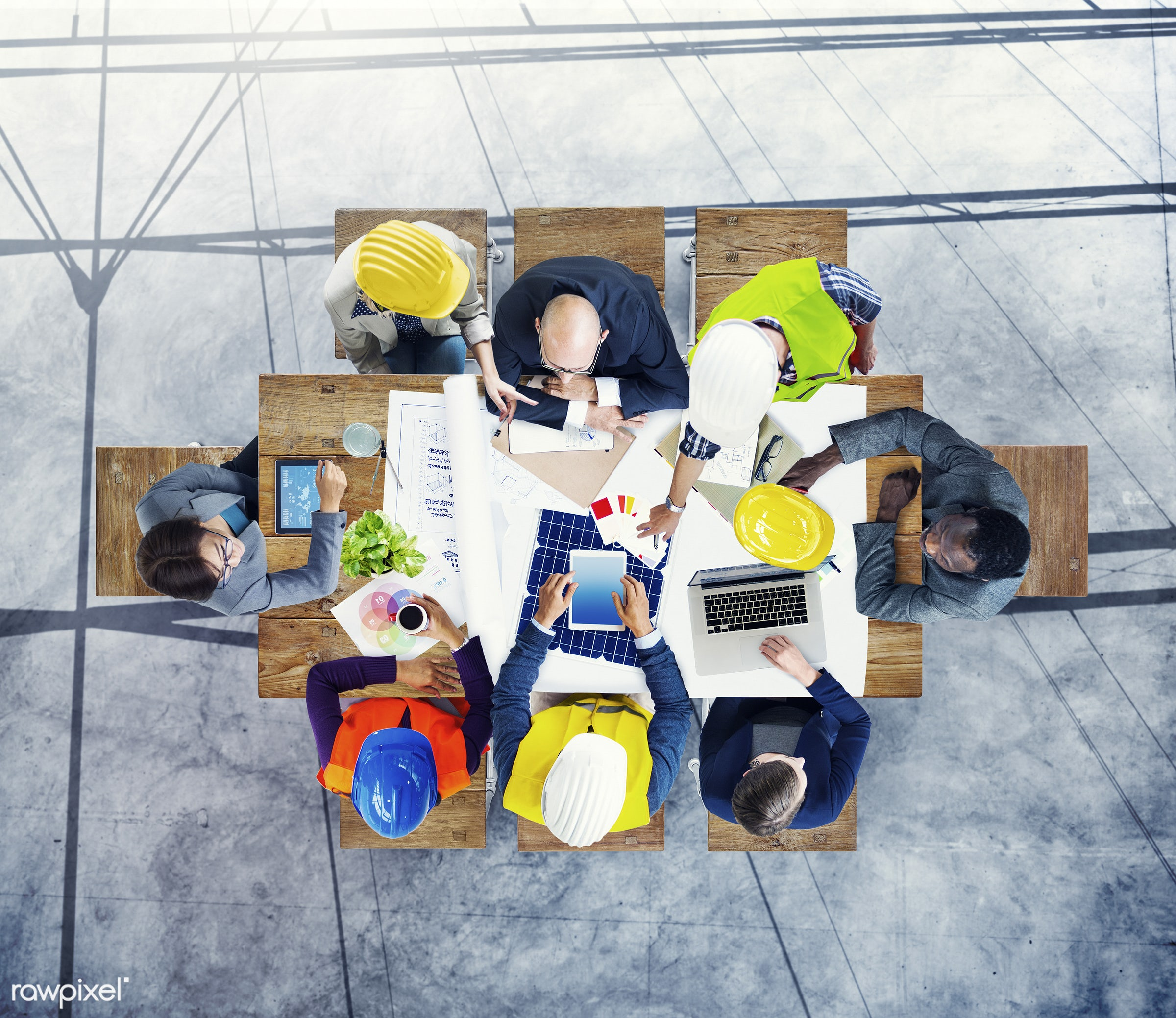 mobility, aerial view, african descent, architect, asian ethnicity, brainstorming, business, communication, concrete floor,...