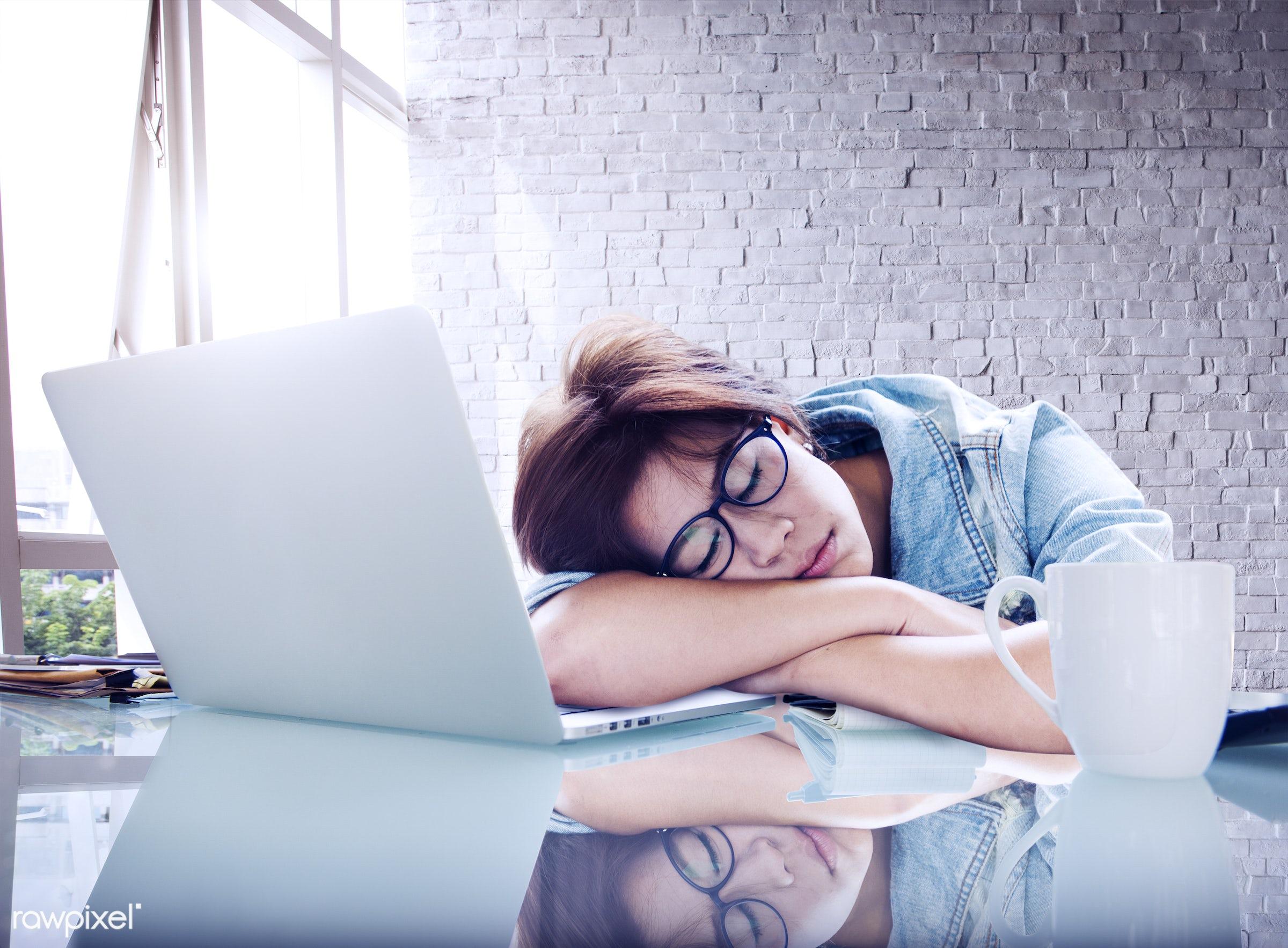 attractive, beautiful, bored, boredom, break, brick, brick wall, business woman, businesswoman, casual, computer, cute, desk...