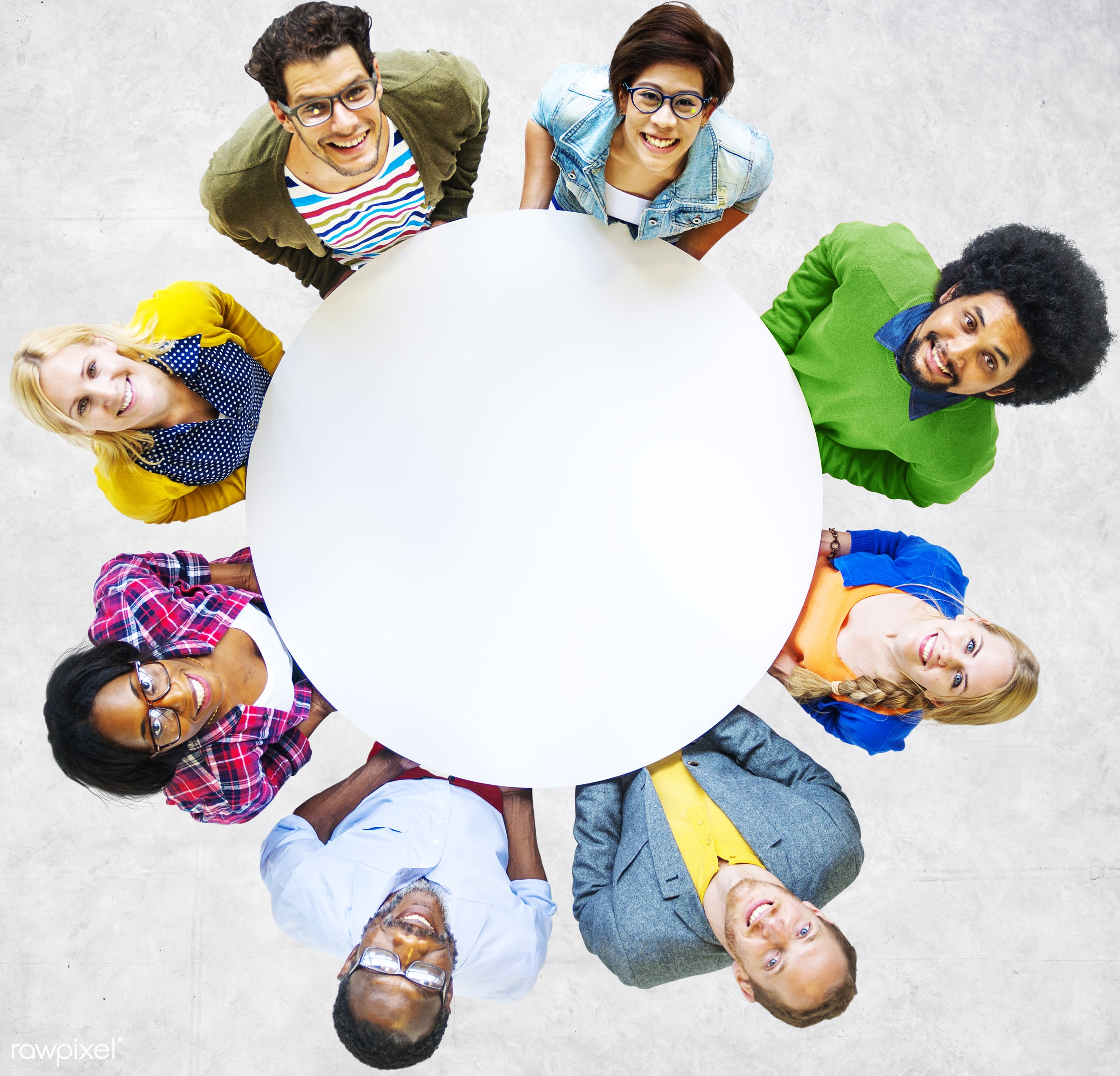 aerial view, african descent, asian ethnicity, blank, casual, cheerful, circle, colorful, communication, community, concrete...
