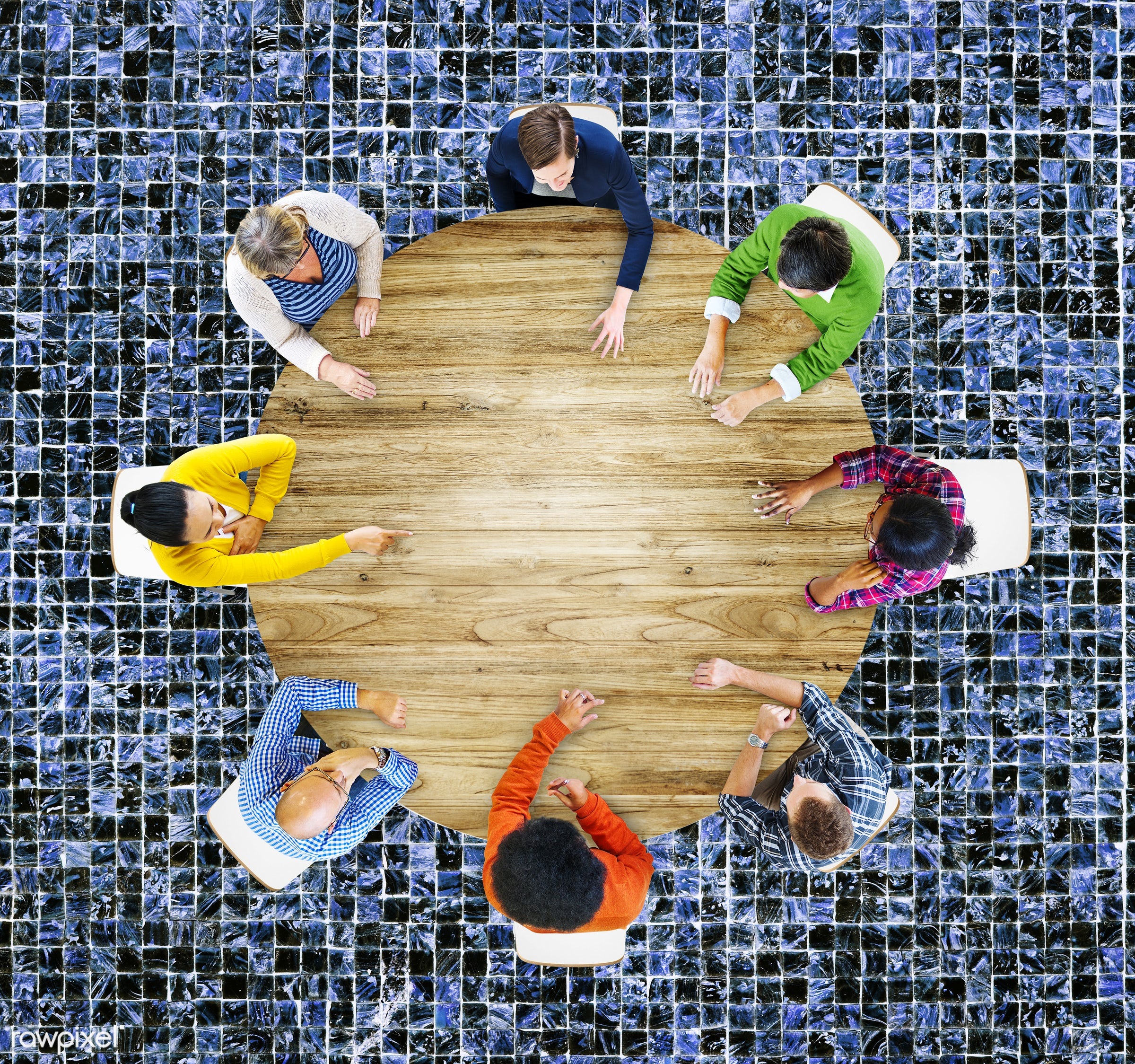 aerial view, african descent, asian ethnicity, blank, brainstorming, casual, ceramic tile, circle, colorful, communication,...