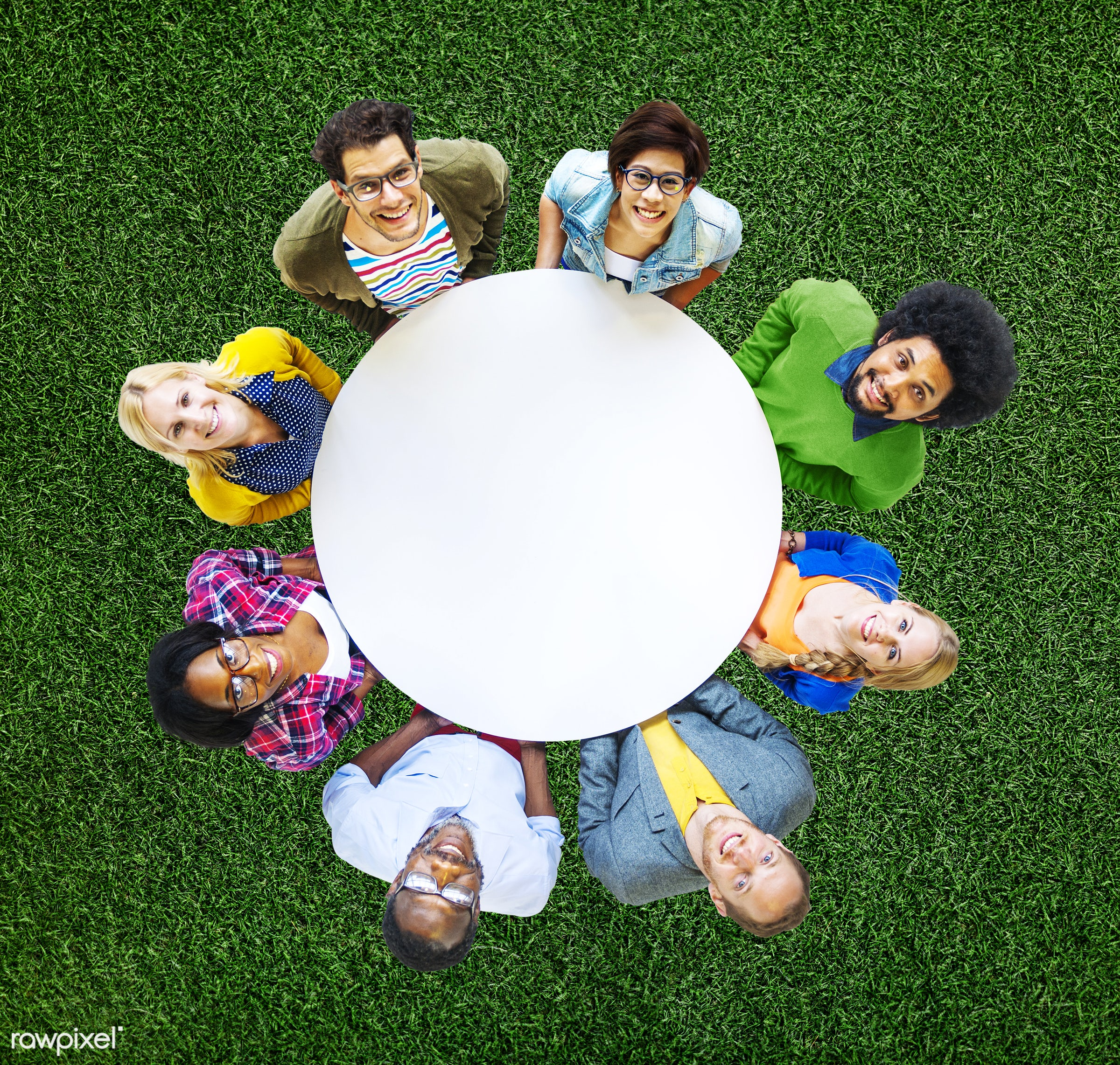 aerial view, african descent, asian ethnicity, blank, casual, cheerful, circle, colorful, communication, community,...