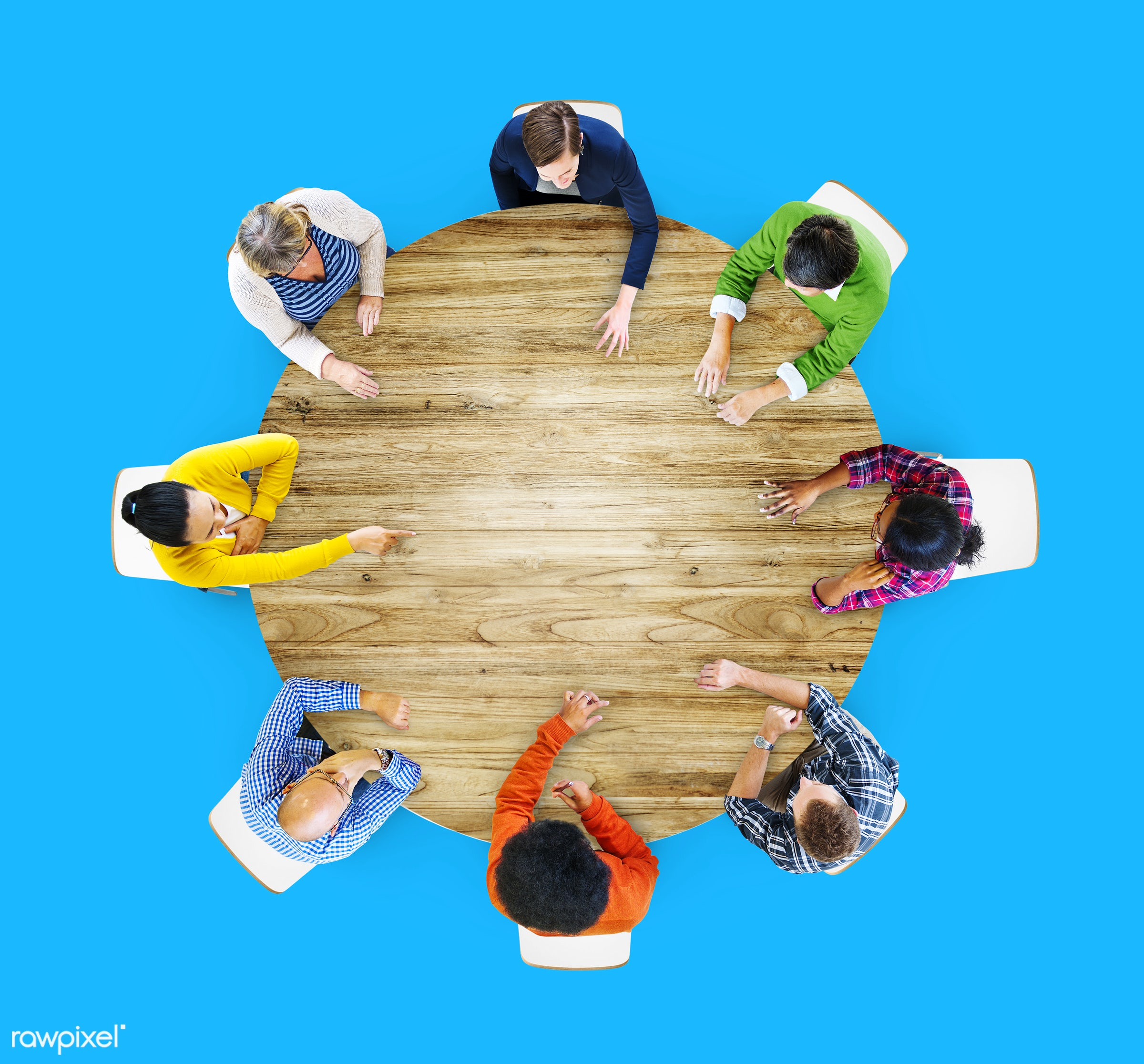 aerial view, african descent, asian ethnicity, blank, blue, brainstorming, casual, circle, colorful, communication,...
