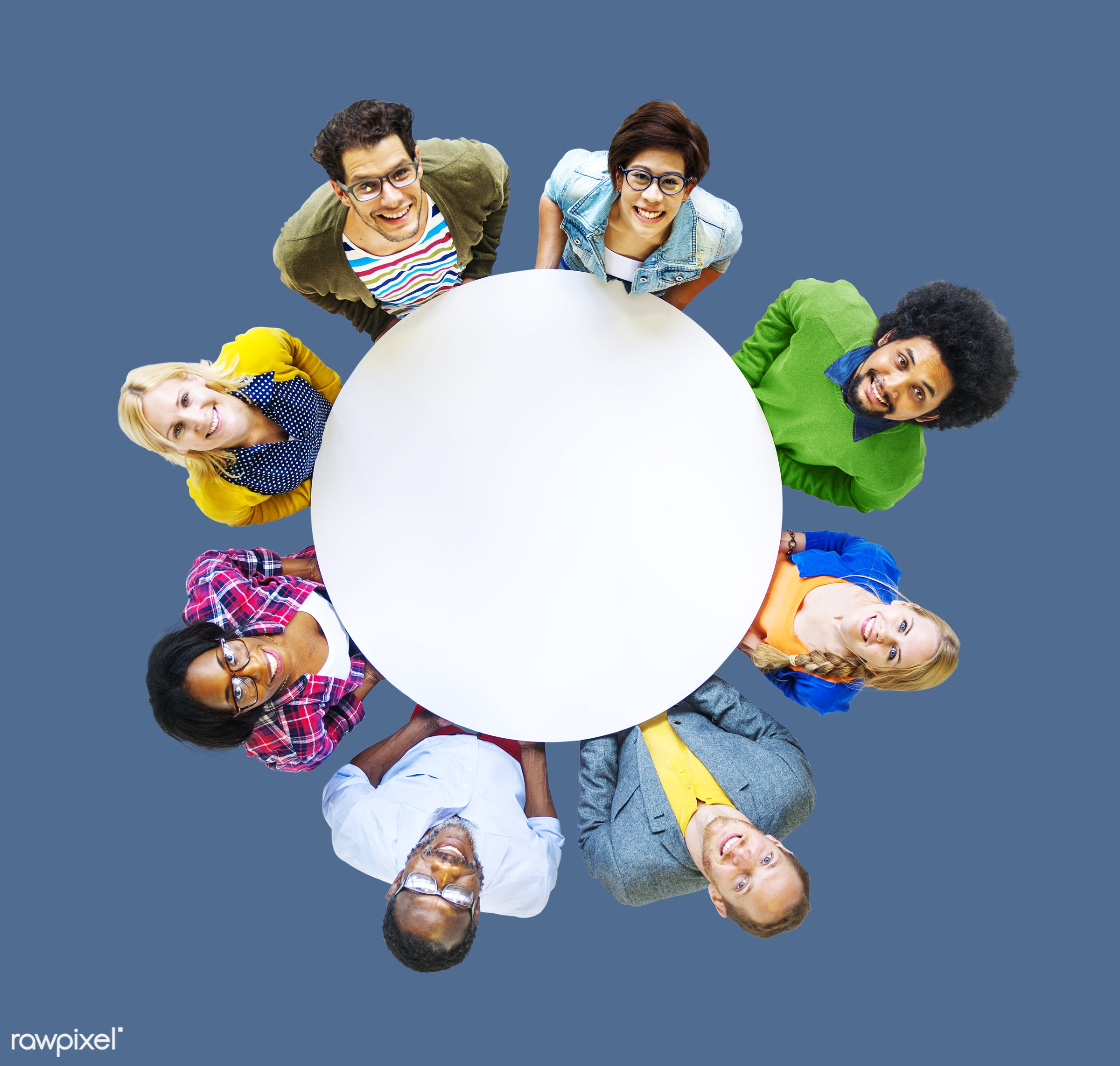 aerial view, african descent, asian ethnicity, blank, blue, casual, cheerful, circle, colorful, communication, community,...